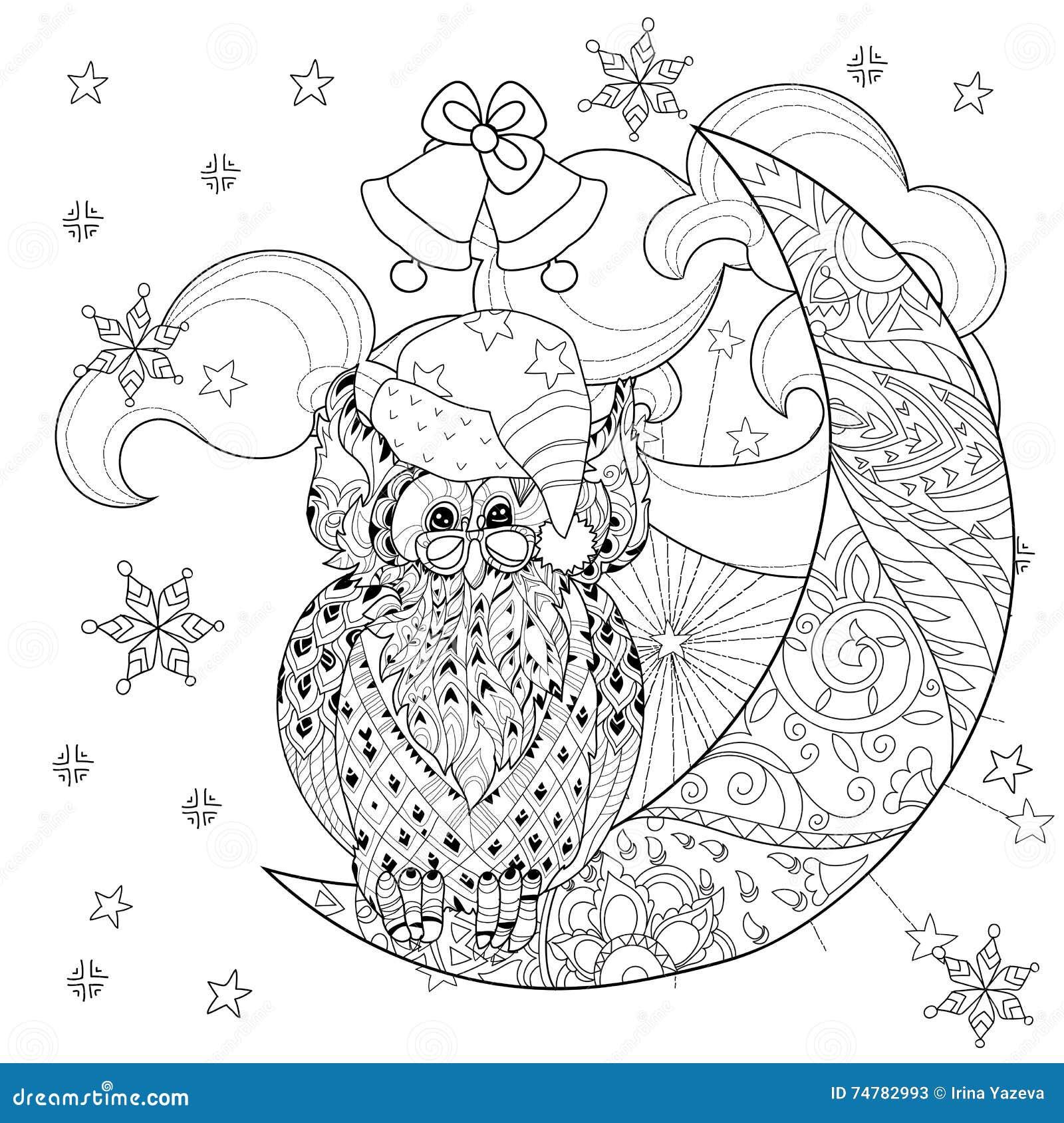 cute owl on christmas half moon stock vector image 74782993