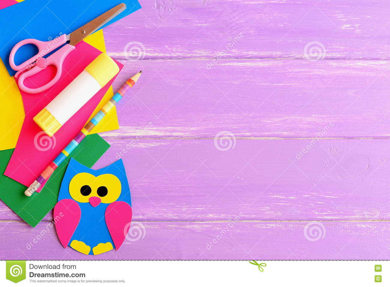 Cute Owl Decor, Stationery. Coloured Cardboard Owl Decor, Scissors ...