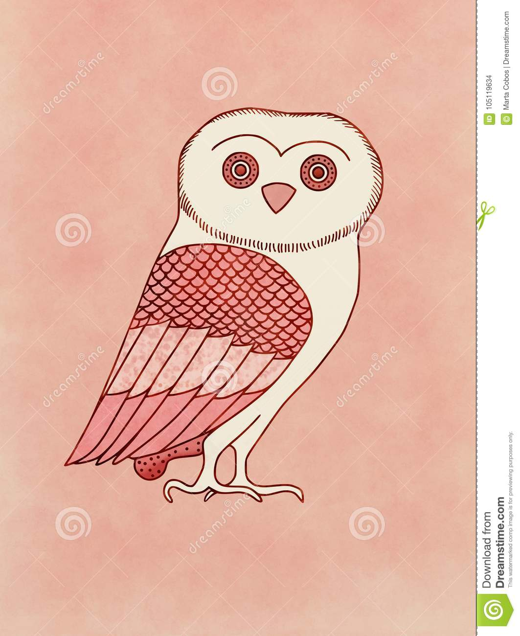 Cute Owl Drawing Inspired On Ancient Greek Pottery Drawing Stock