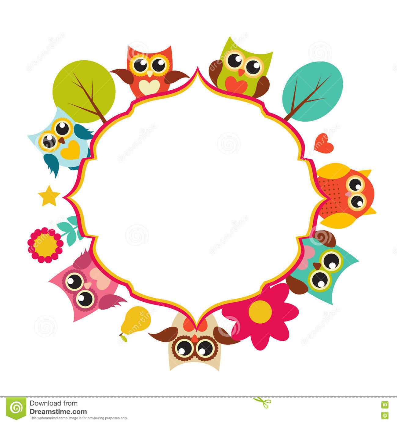 owl picture frames  best frames  - cartoon autumn frame with owl teacher by clairev toon vectors
