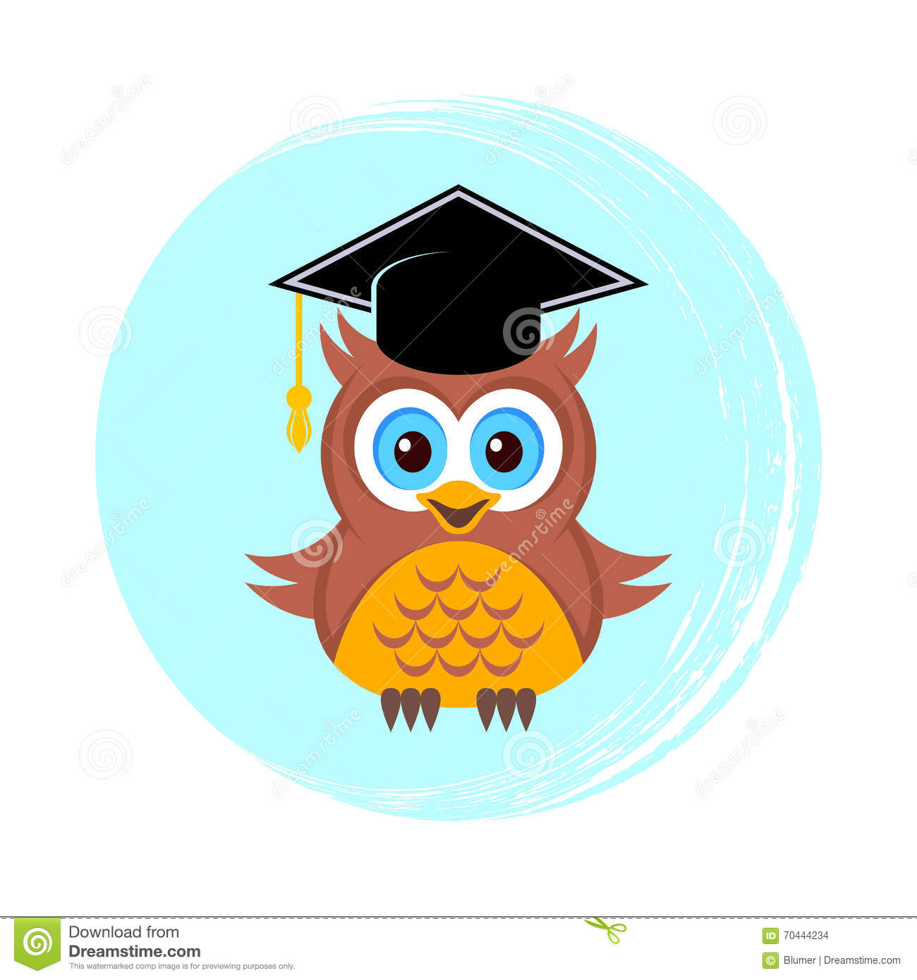 Cute Owl With Graduation Hat Stock Vector Image 70444234