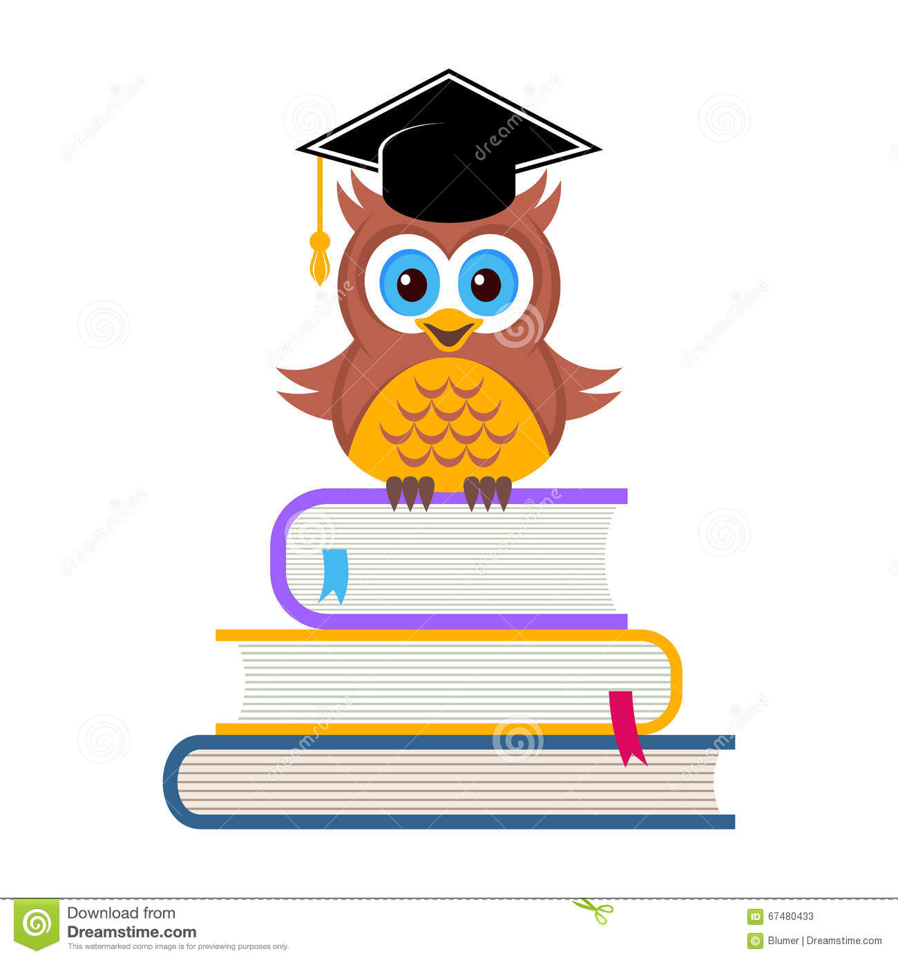 Cute Owl With Graduation Hat Stock Vector - Image: 67480433