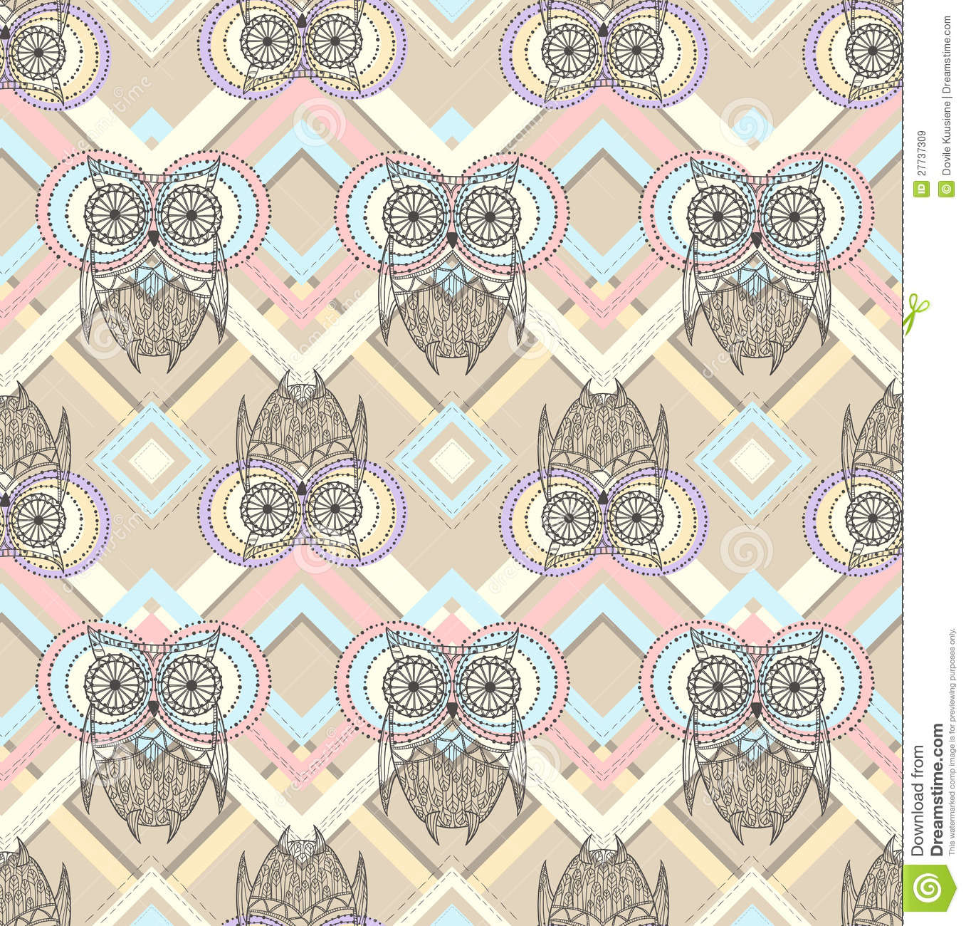 Cute Owl Seamless Pattern Royalty Free Stock Images - Image: 27737309