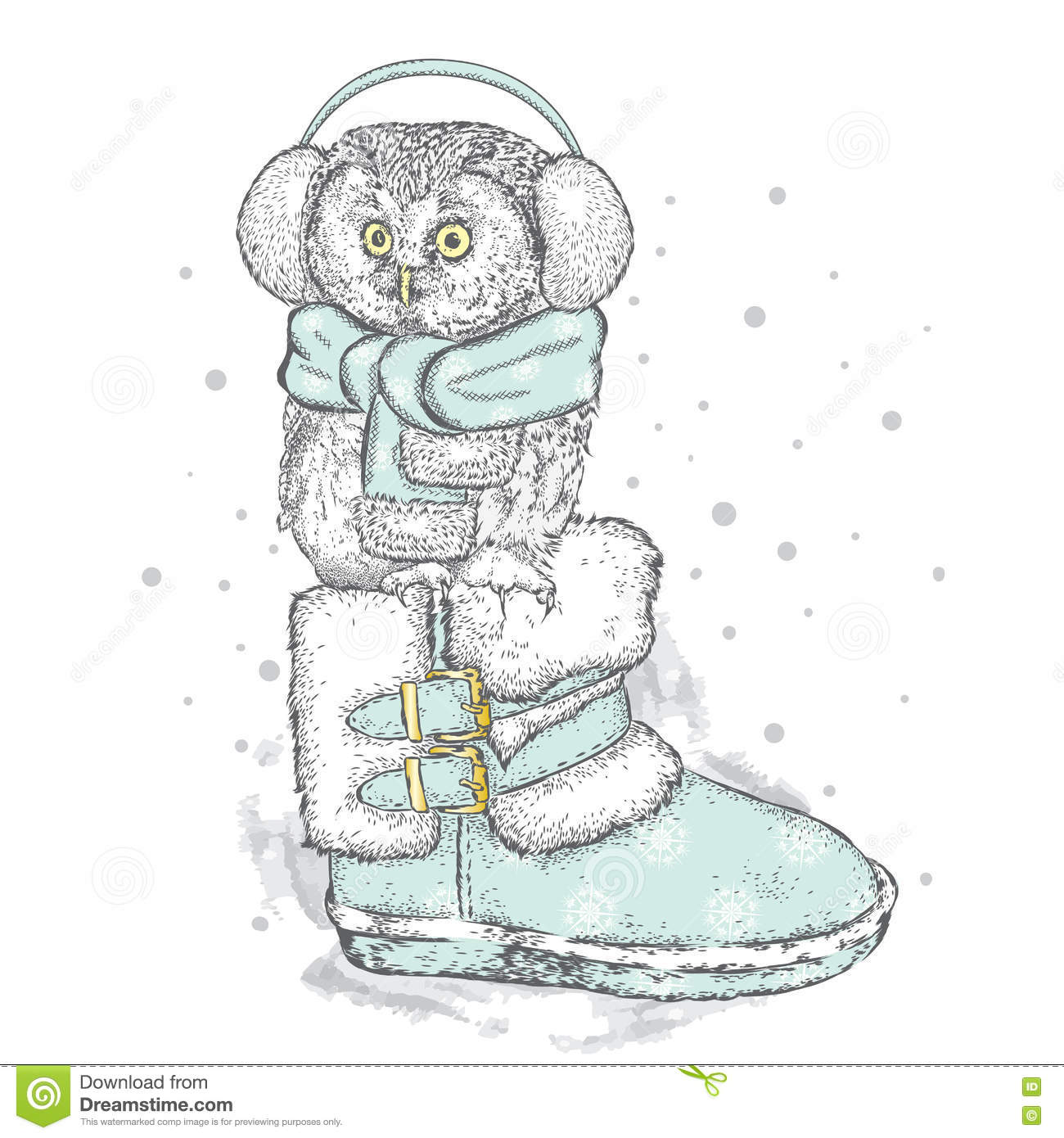 Christmas Boots Drawing.Cute Owl Sitting In The Boots New Year S And Christmas