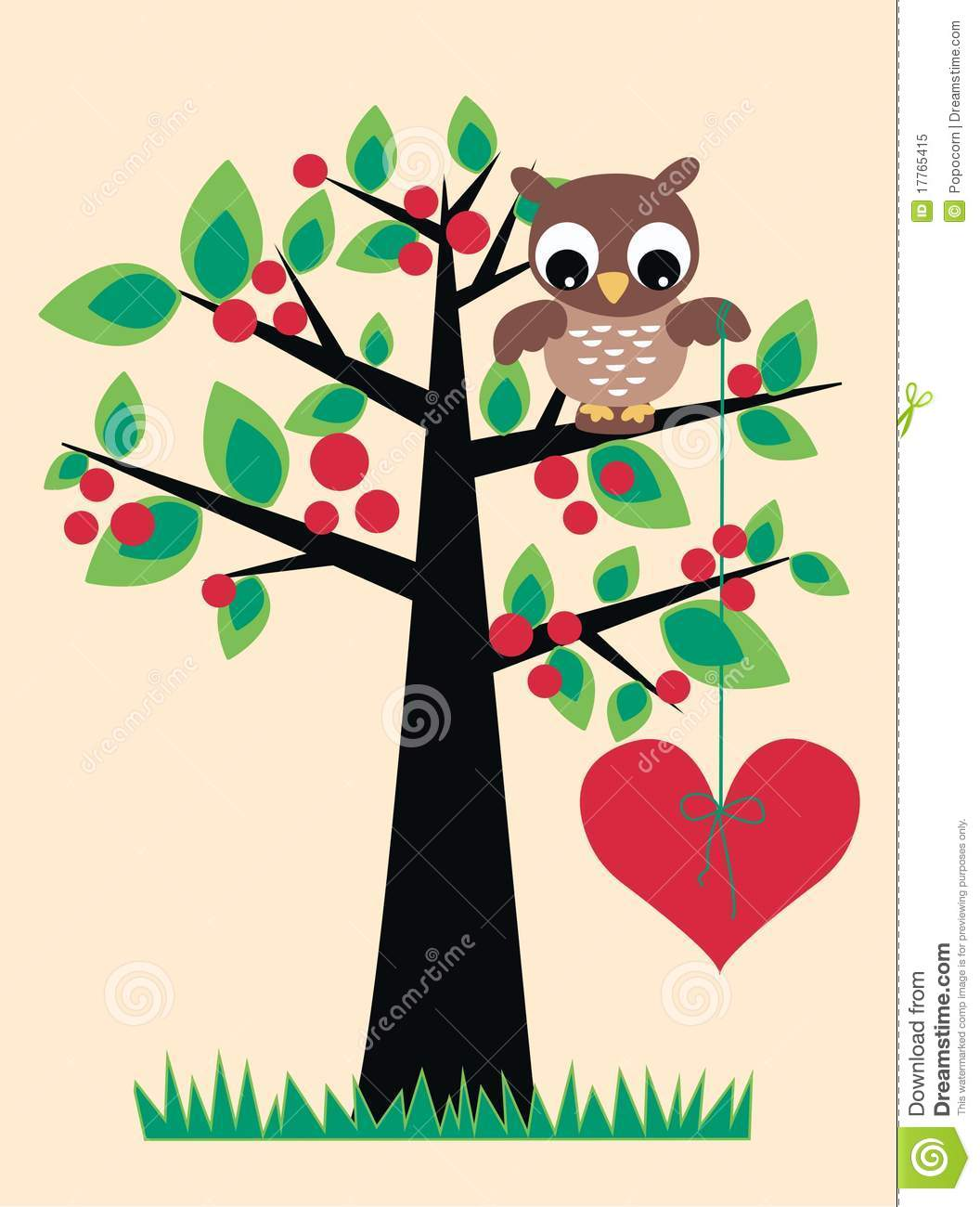 Tree And Owl Wall Stickers A Cute Owl Sitting In A Tree Stock Vector Image 17765415