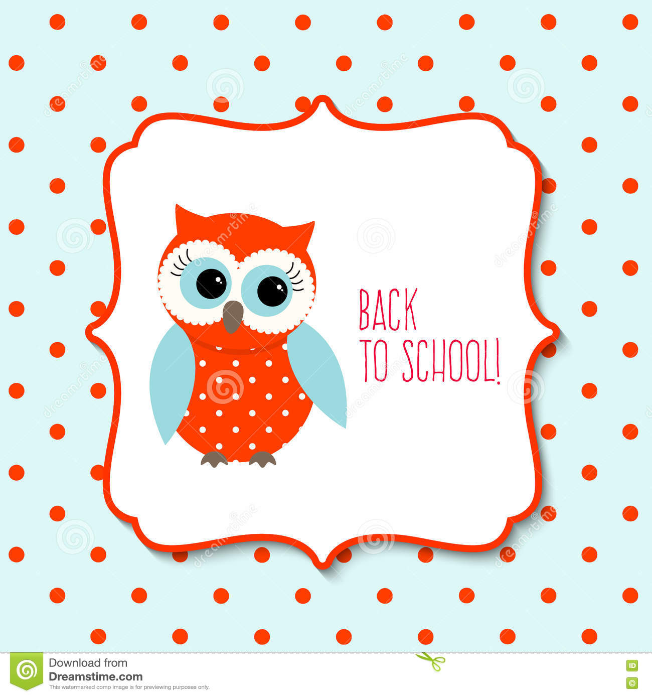 cute owl with text back to school, illustration stock vector