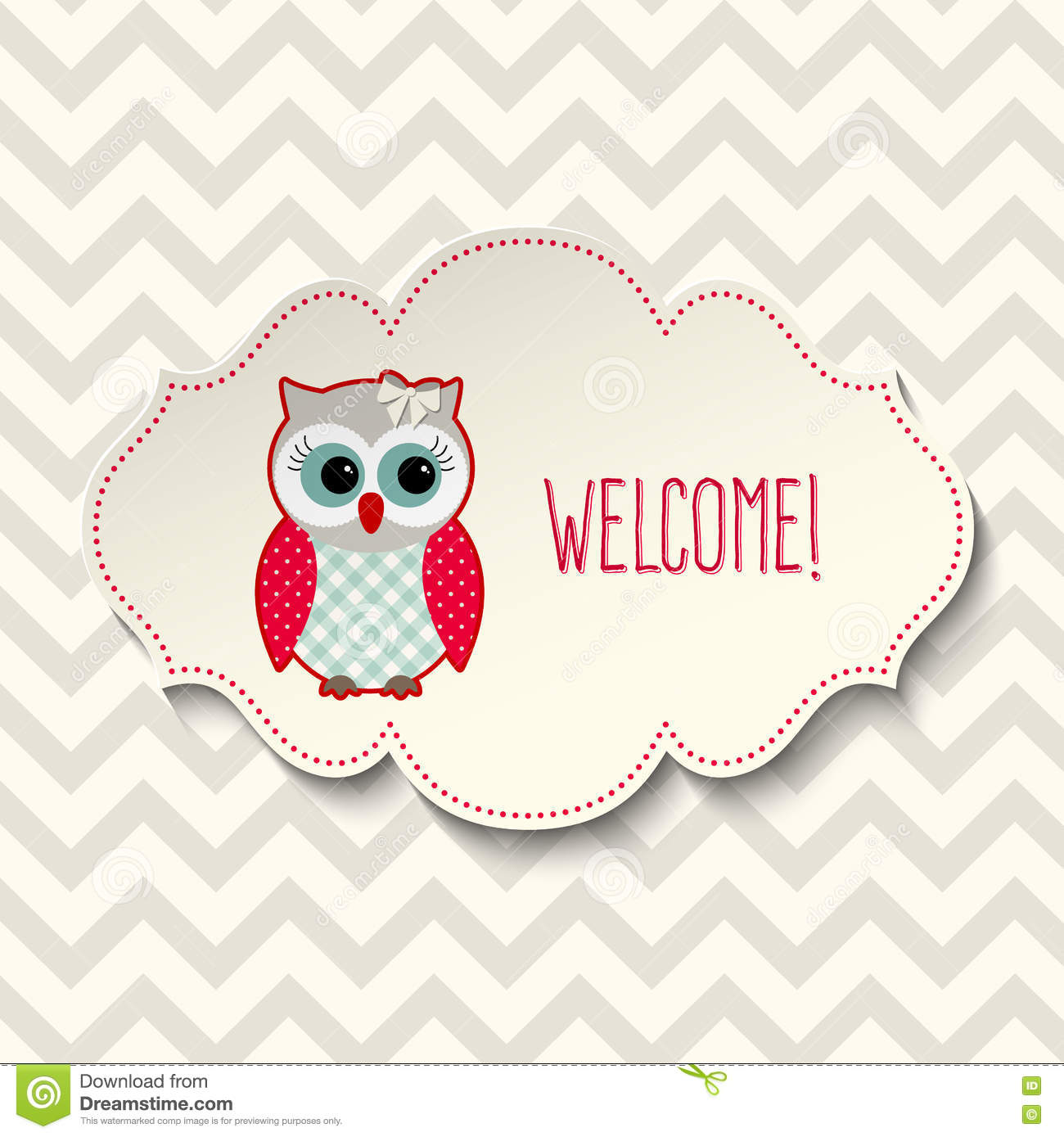 cute owl with text welcome illustration stock vector
