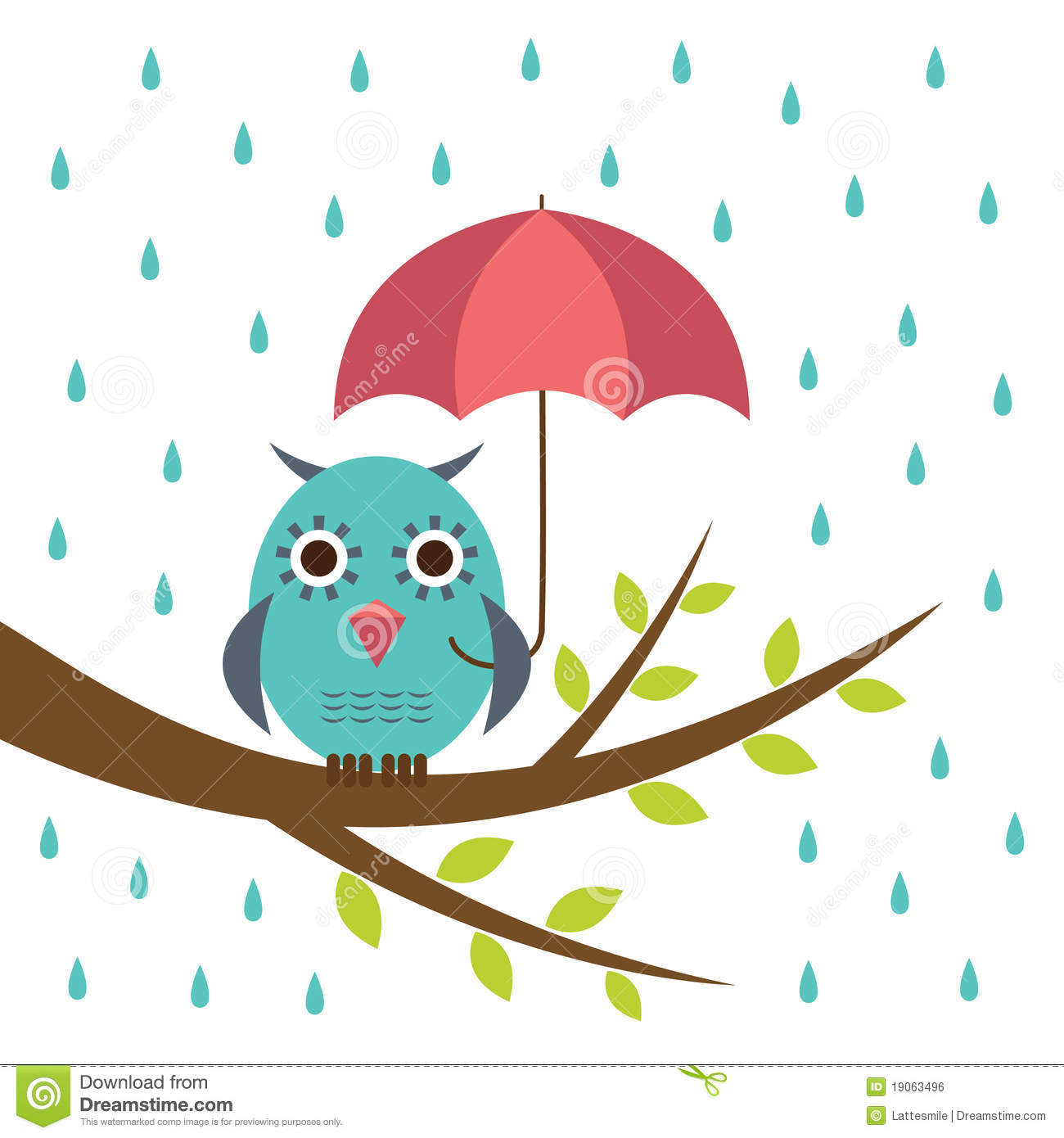 Cute Owl With Umbrella Royalty Free Stock Image - Image ...