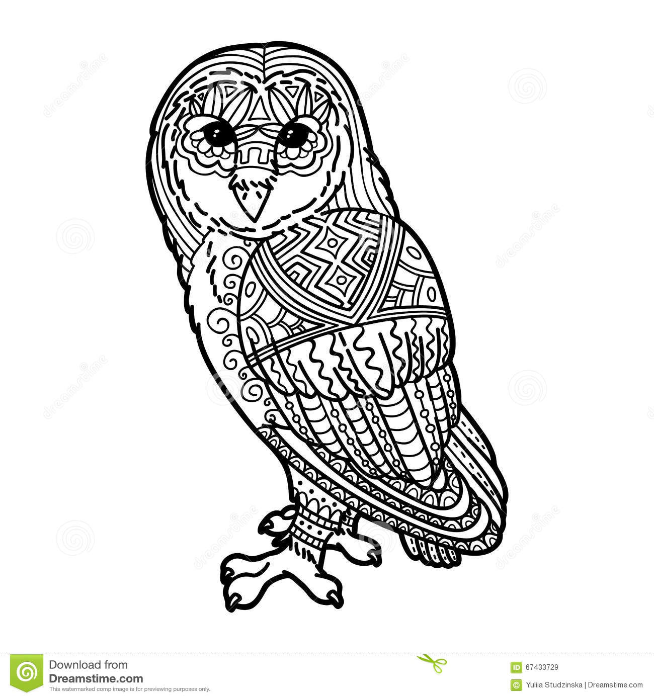 Cute Owl Drawing In Zentangle Style Vector Illustration