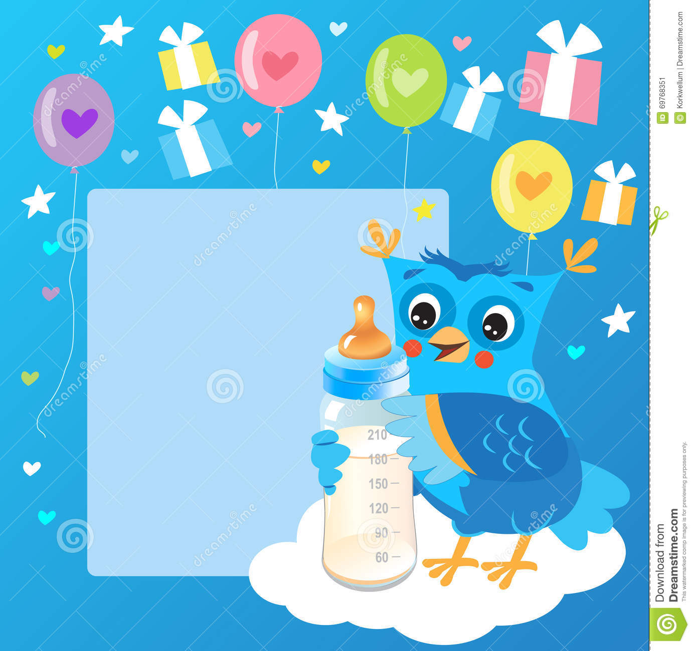 cute owlet with milk bottle welcome baby boy card vector