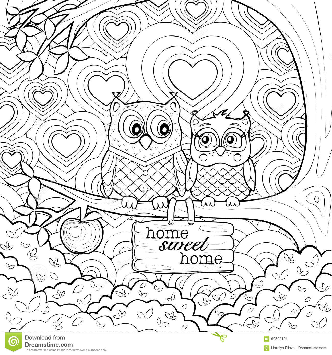 cute owls - art therapy coloring page stock vector