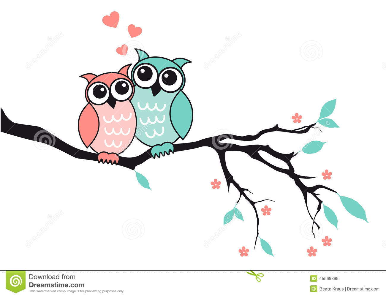Cute Owls In Love, Vector Stock Vector - Image: 45569399