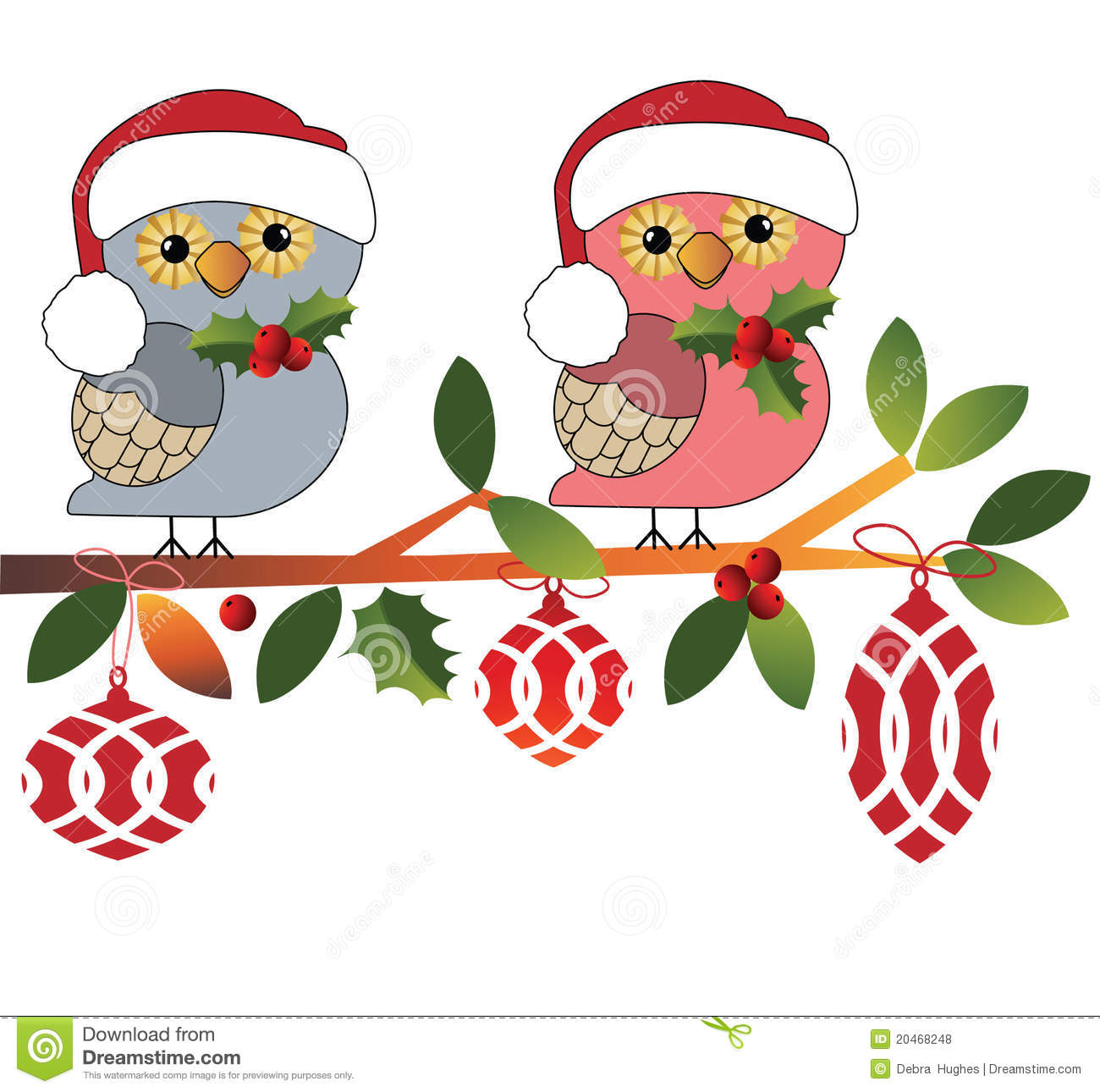 Cute Owls In Santa Hats Stock Vector Image Of Leaf Decal 20468248