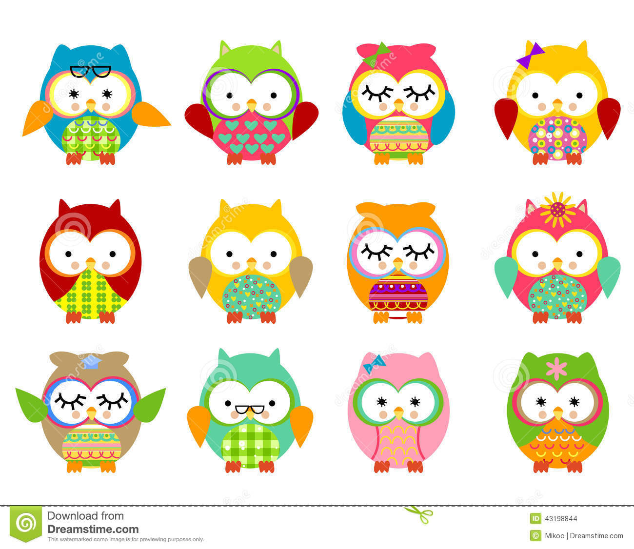 Cute Owls Stock Vector Image 43198844