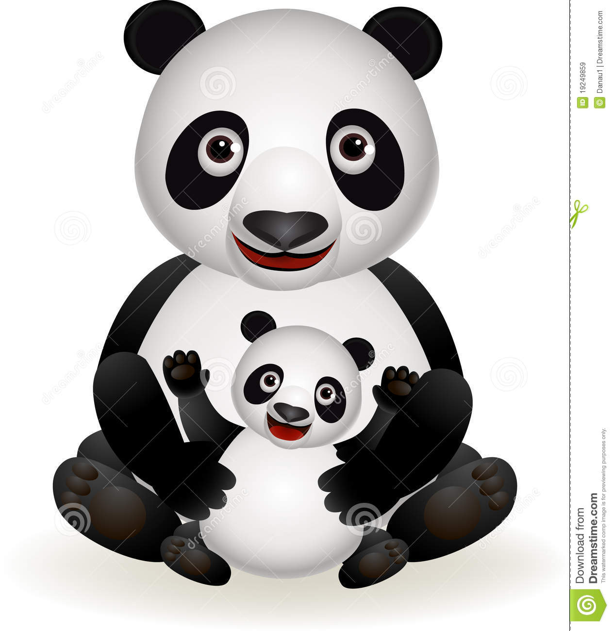 Cute Panda And Baby Panda Royalty Free Stock Images - Image: 19249859