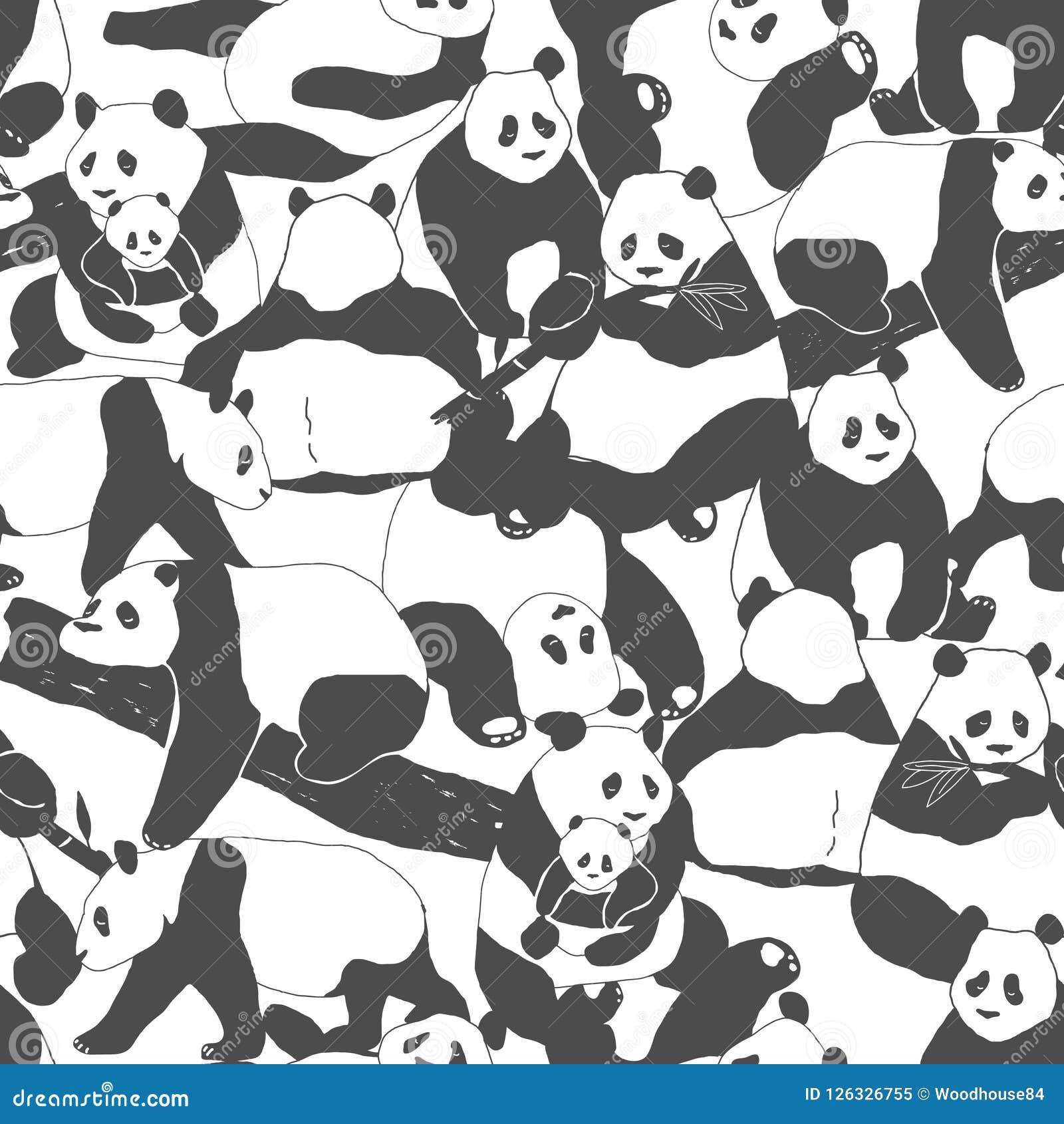 Cute Panda Bear Seamless Pattern Illustration For Textile Print