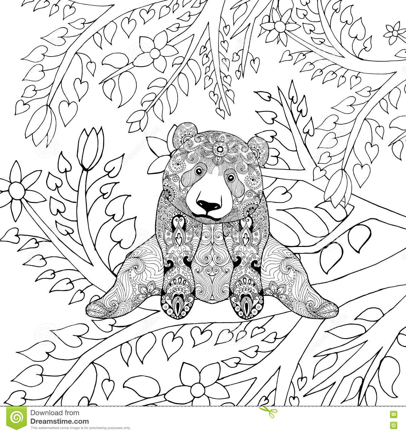 Cute Panda Bear On Tree Branches Stock Vector