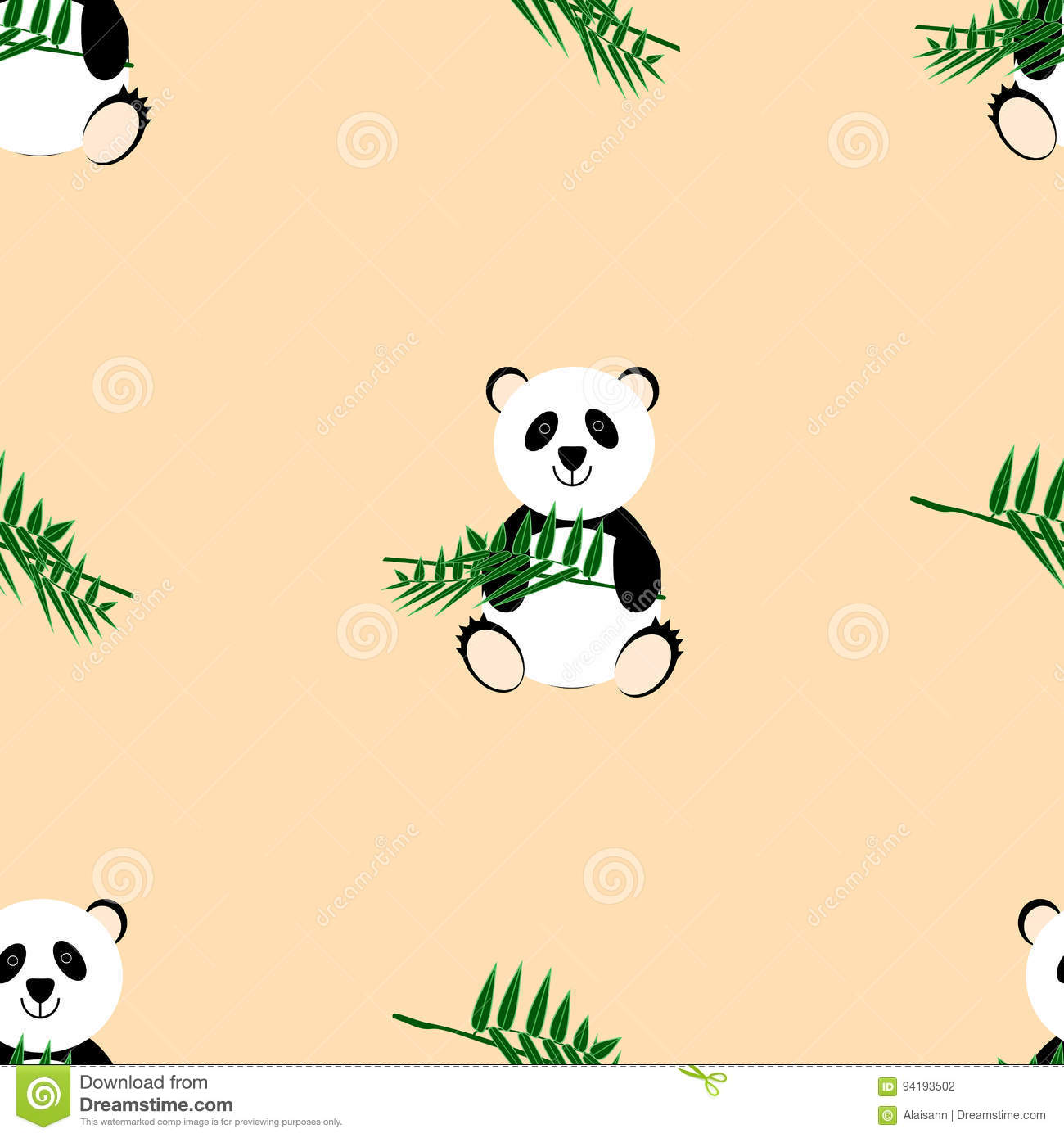 cute panda on a beige background with a bamboo branch stock vector