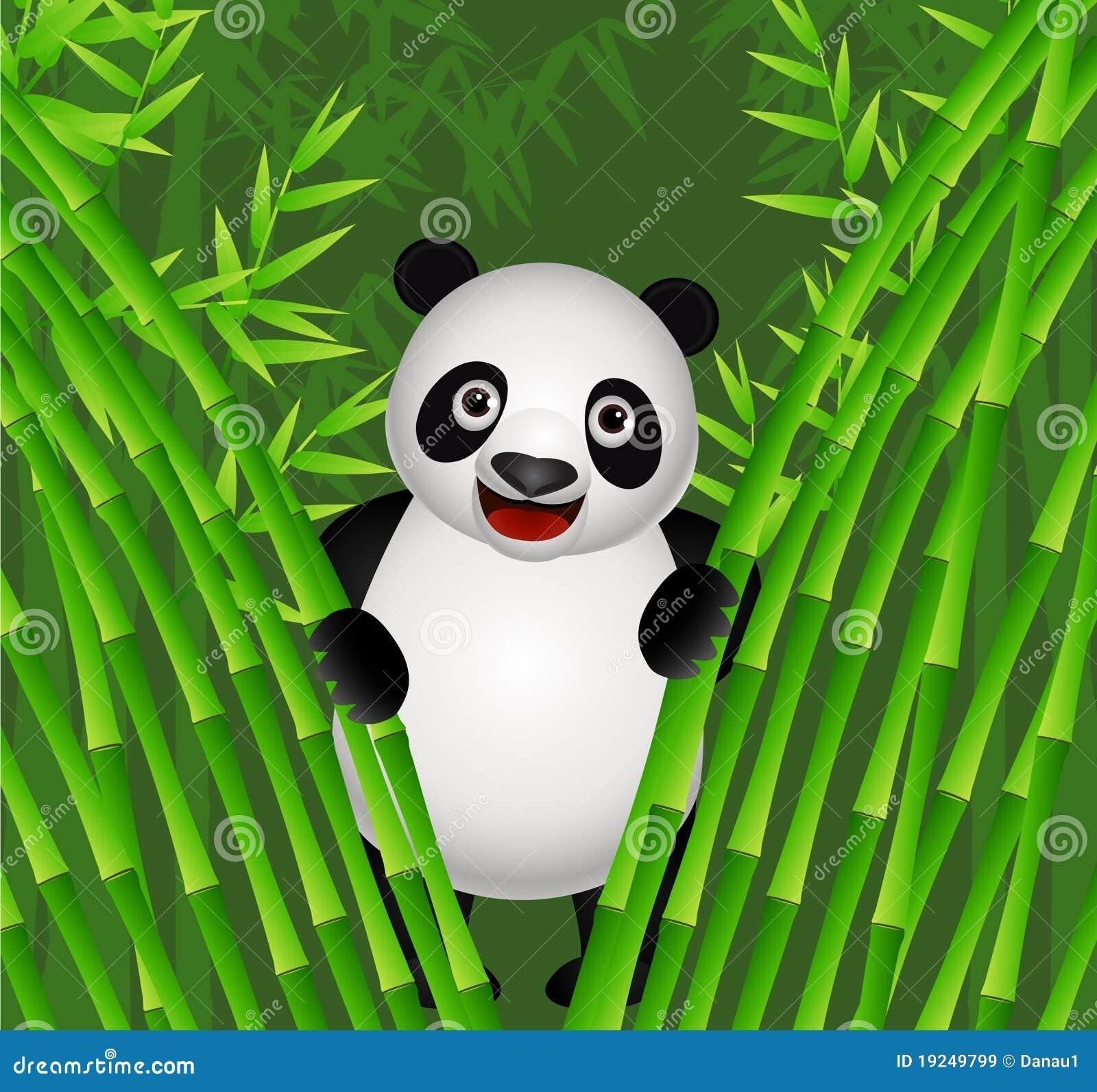 Cute Panda Cartoon In The Nature Stock Vector Image