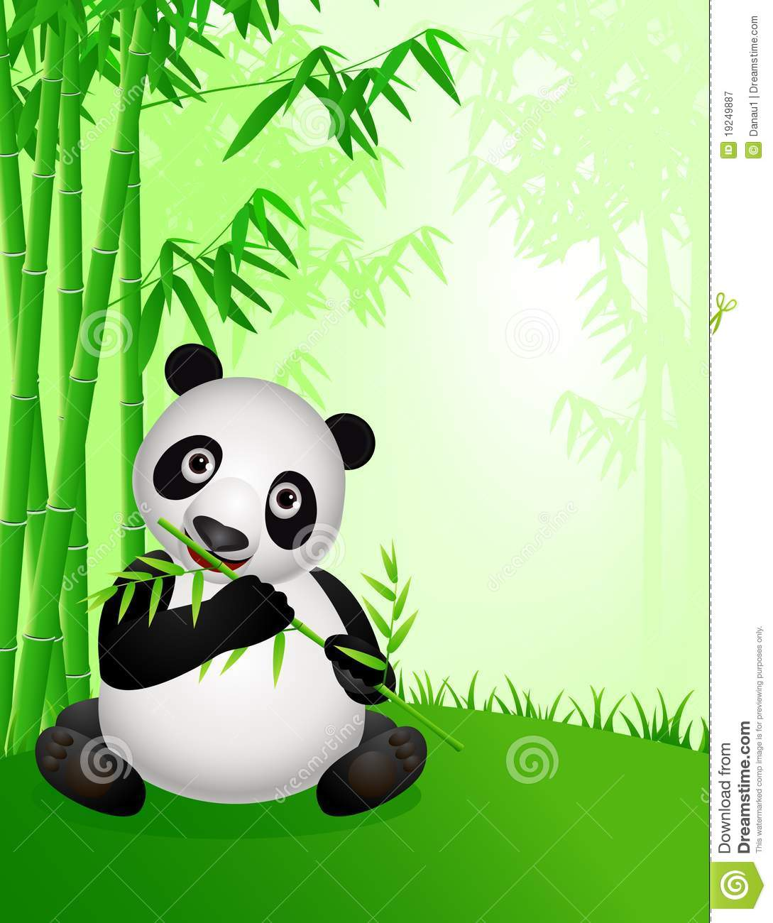 Baby Animal Wall Stickers Cute Panda Cartoon In The Nature Royalty Free Stock