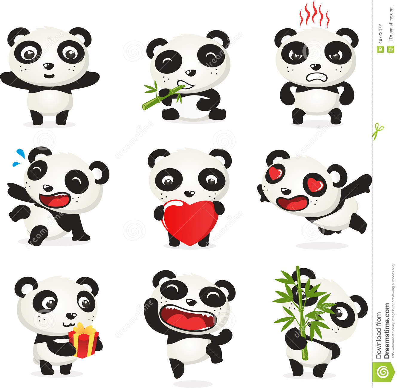 Bear Wall Stickers Cute Panda Cartoon Set Stock Illustration Image 46722472