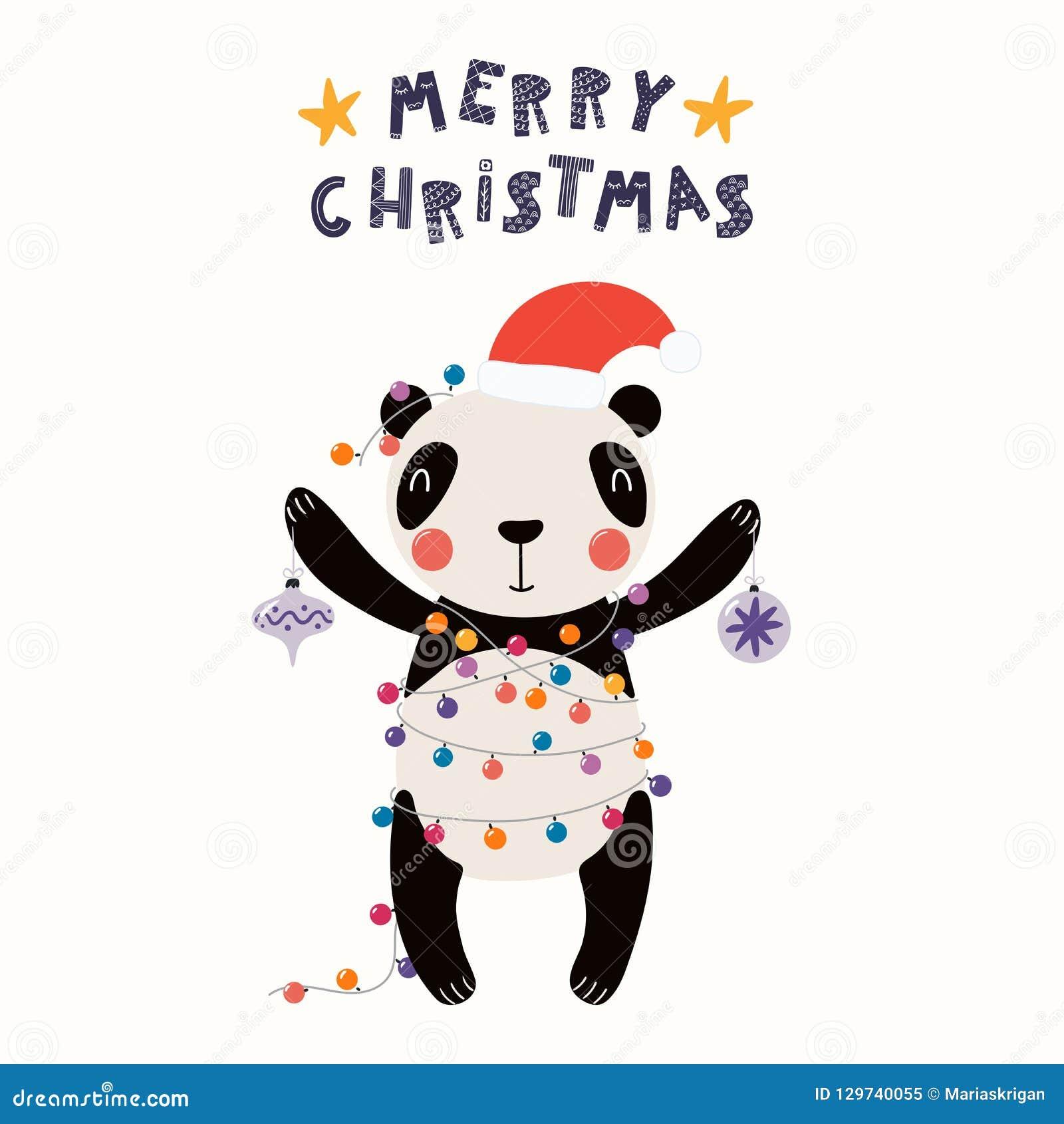 Cute panda Christmas card stock vector. Illustration of card - 129740055
