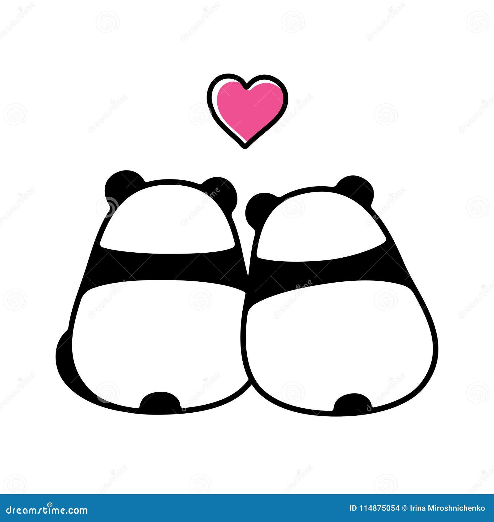 Cute panda couple in love stock vector. Illustration of ...