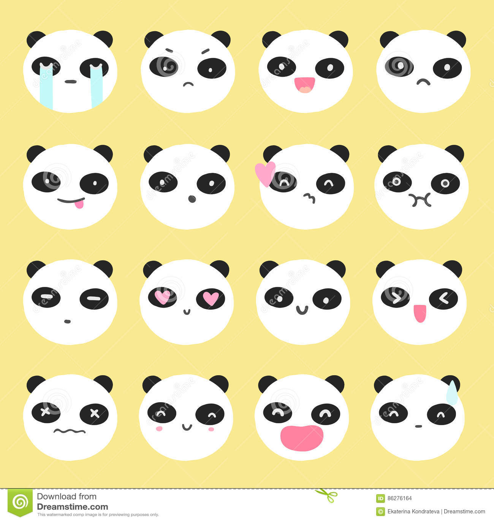 Cute black kawaii emoticon face cartoon vector 93200247 - Emoticone kawaii ...