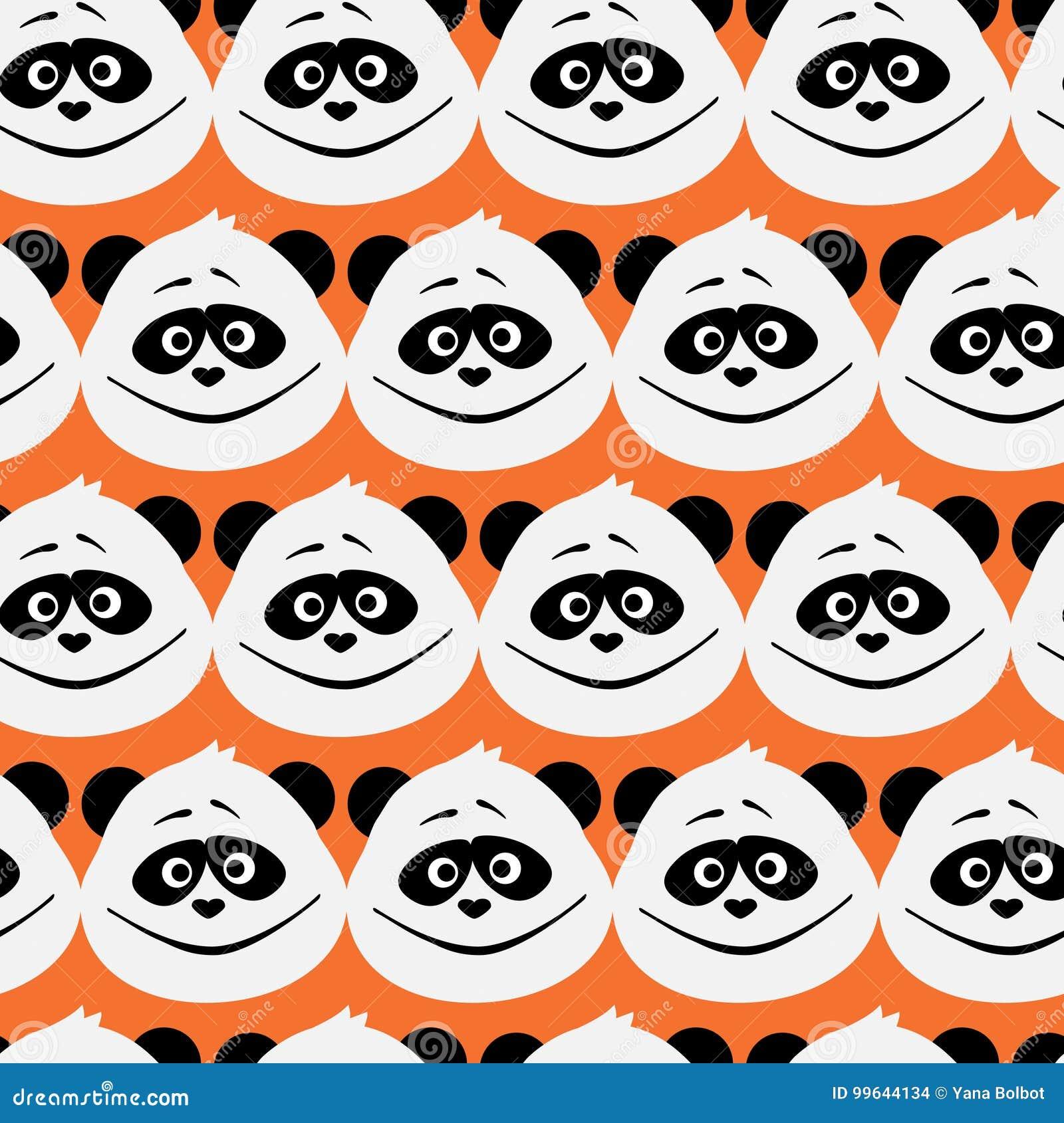 Cute Panda Face Seamless Cartoon Wallpaper Stock Vector