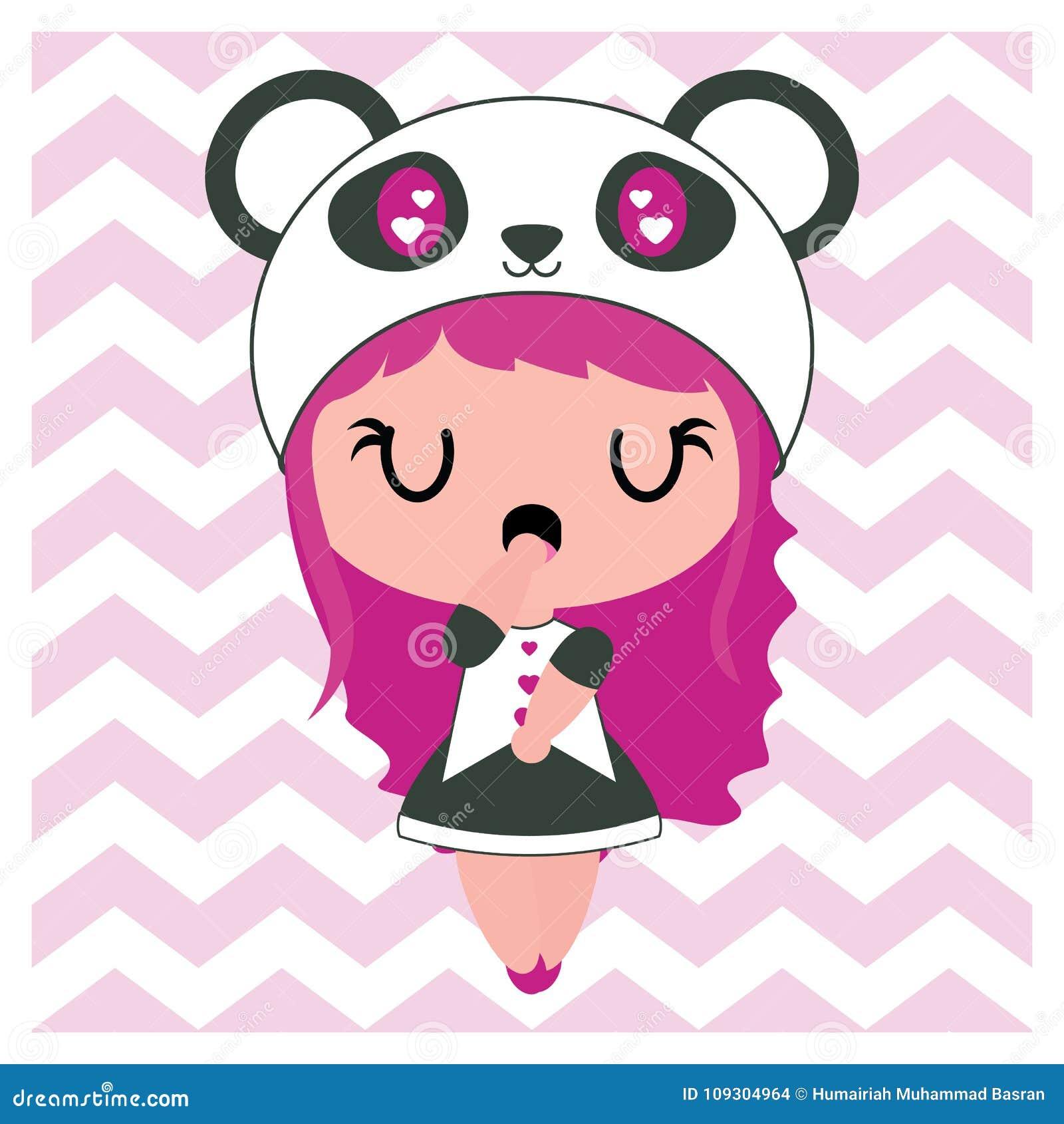 Cute Panda Girl On Chevron Background Cartoon Illustration For Baby Nursery Wall Stock Illustration Illustration Of Character Custom 109304964