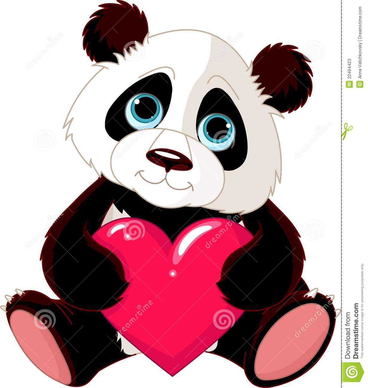 Cute Panda With Heart Stock Photos - Image: 22494423