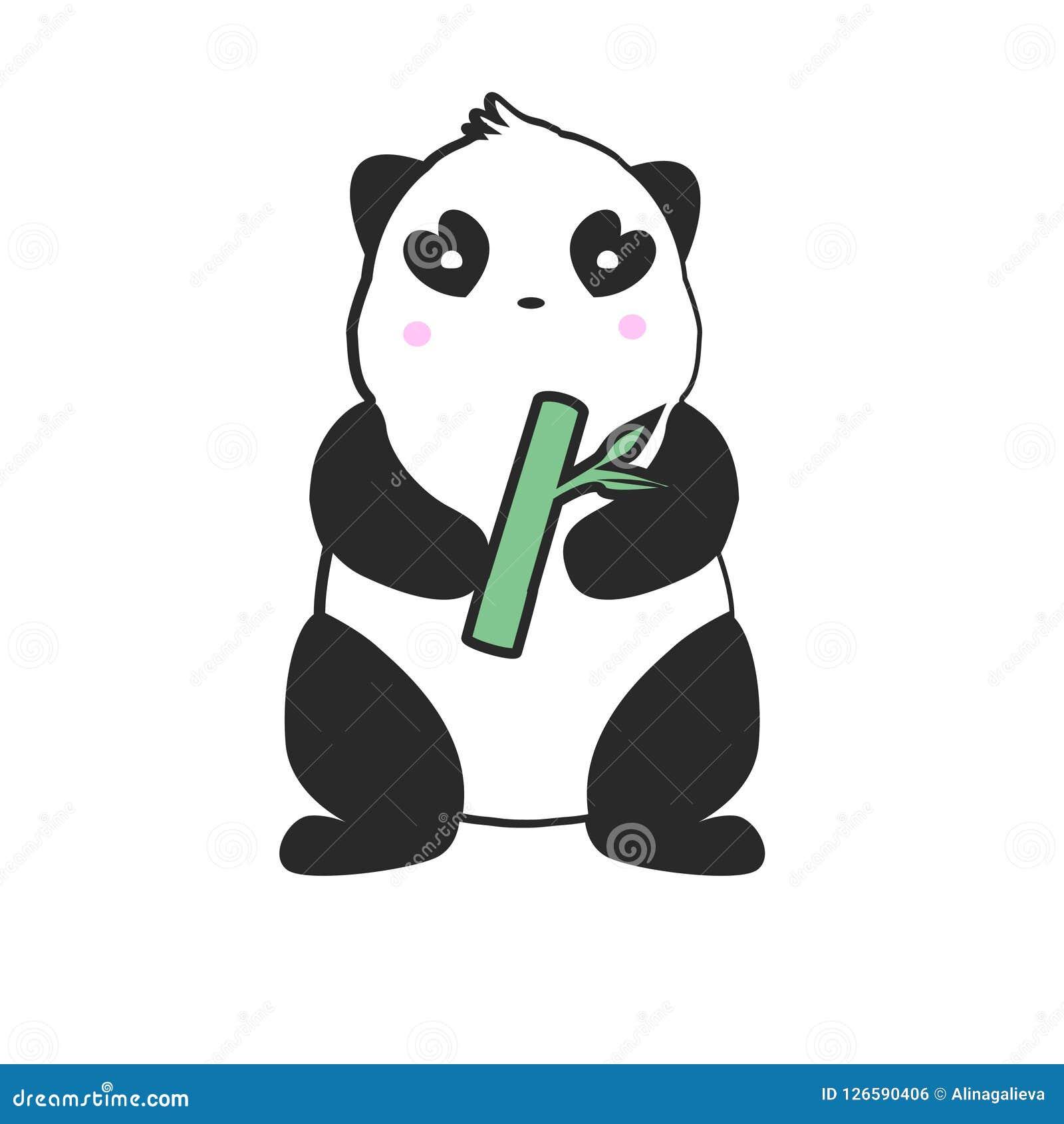 Cute Panda Mascot Logo Design Simple Drawing Of Panda In Cartoon