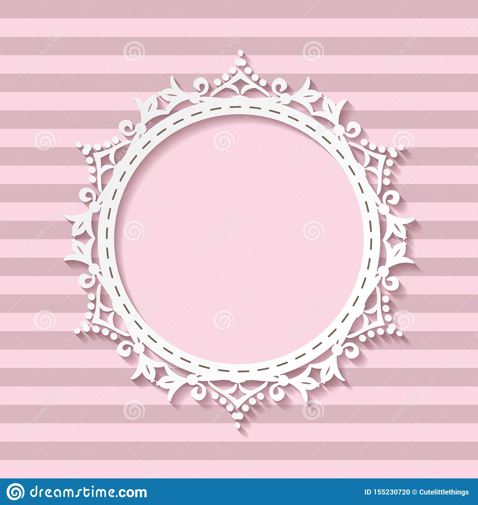 Cute Paper Cut Photo Frame For Baby Girl On Striped Seamless