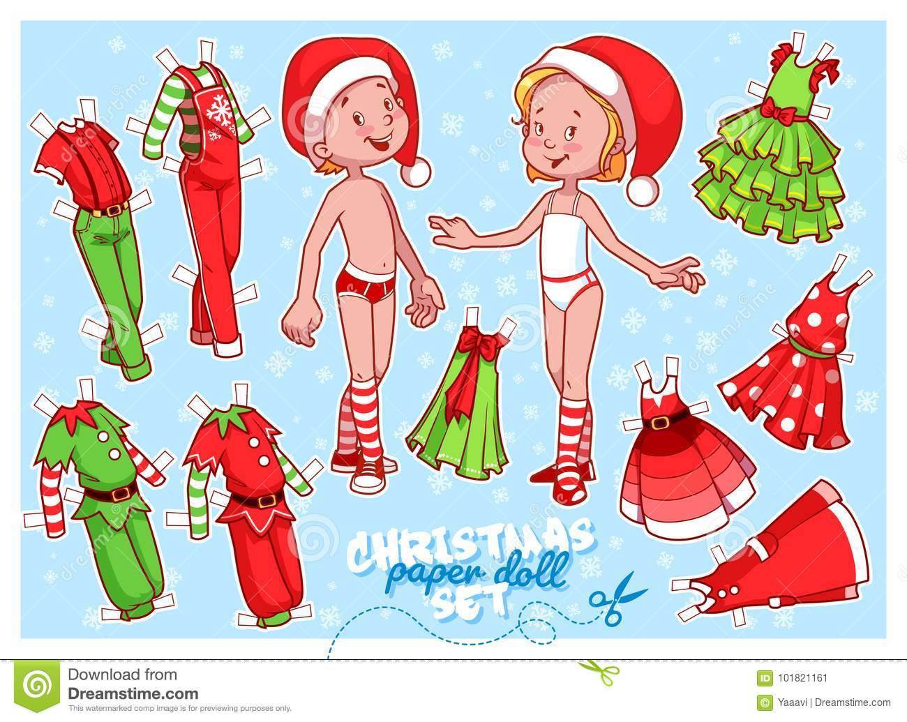 cute paper doll in christmas theme stock vector illustration of