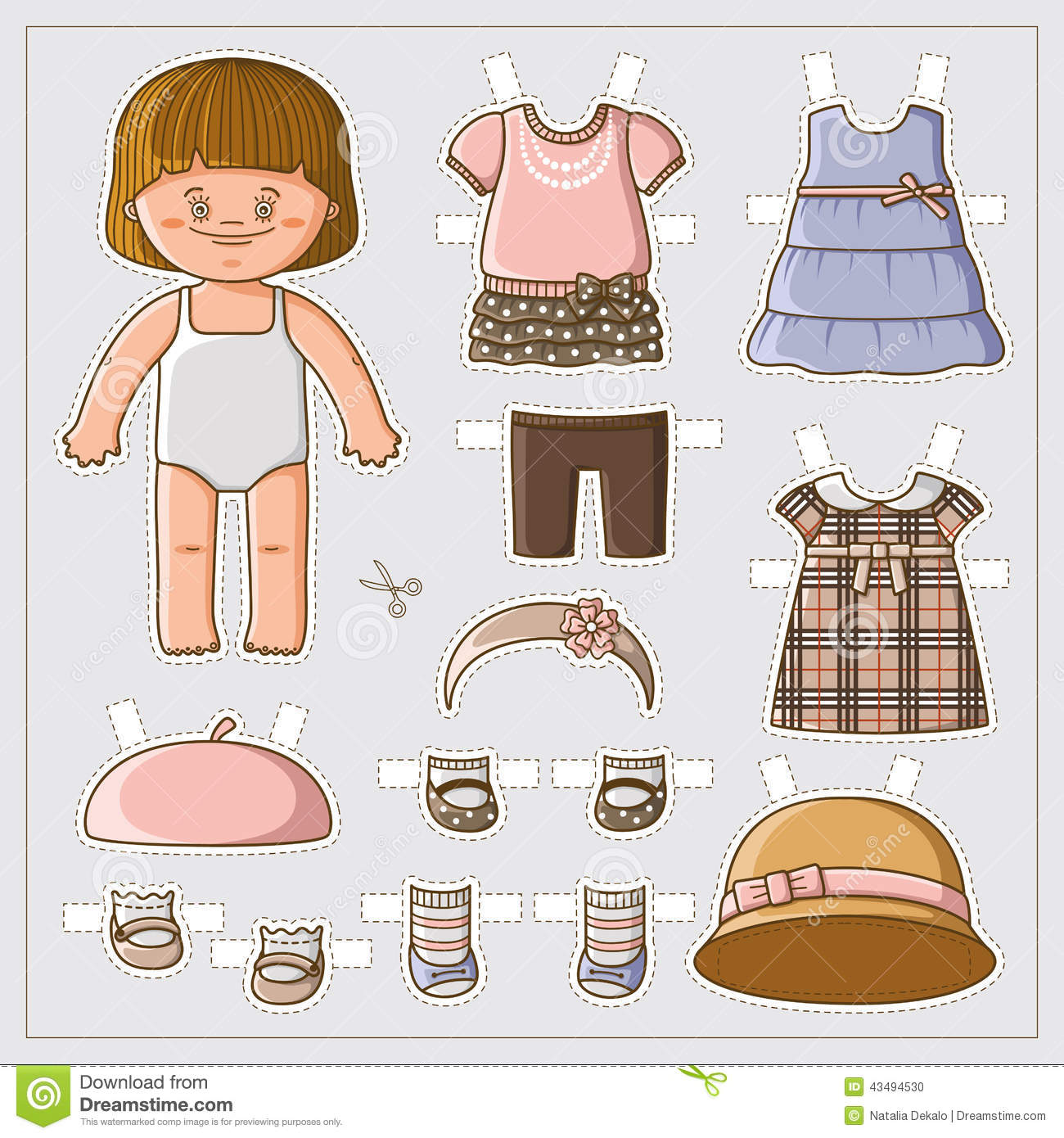 Dress up cute paper doll with body template. Vector set of clothes.