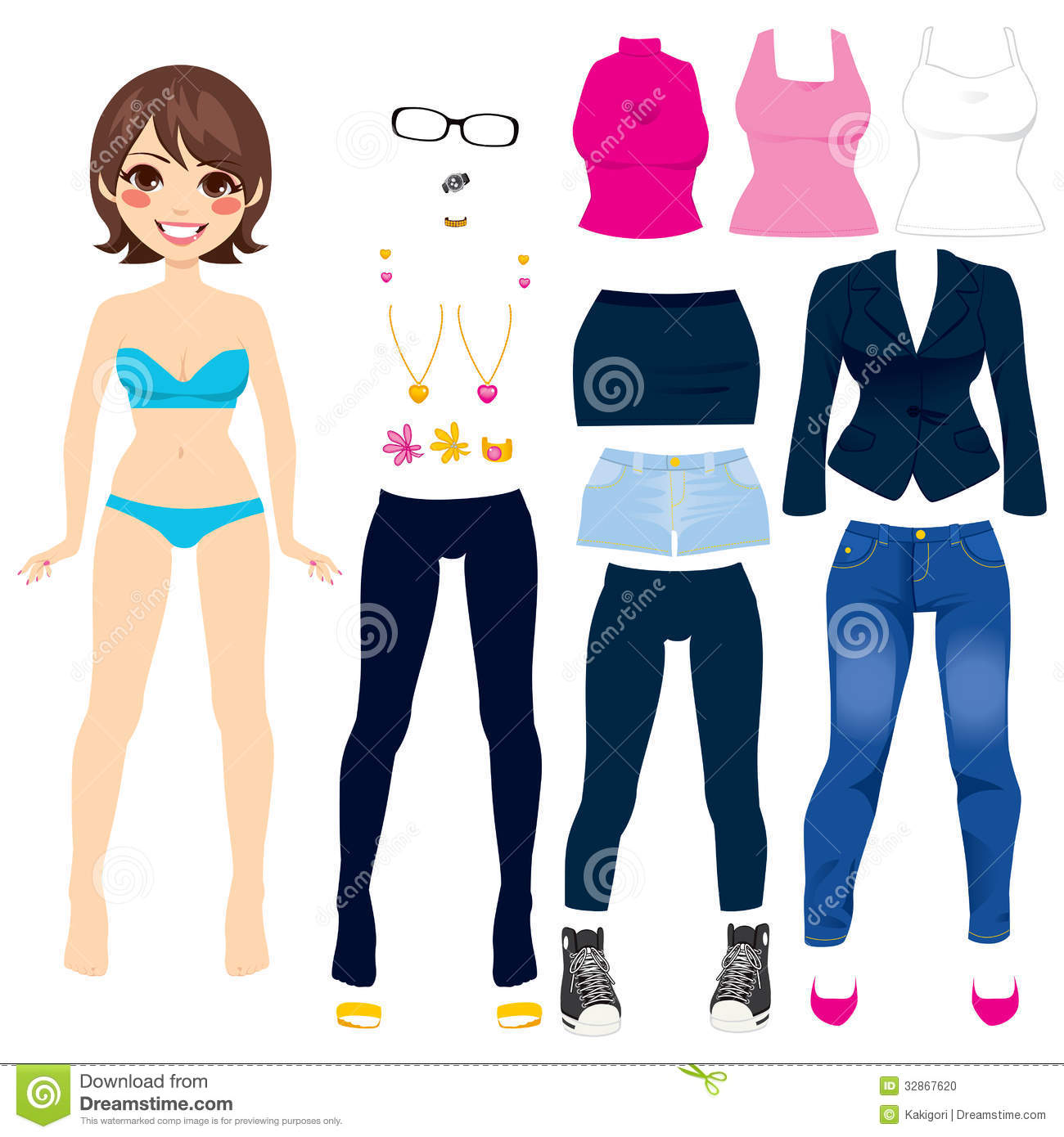 cute paper doll game stock photo   image 32867620
