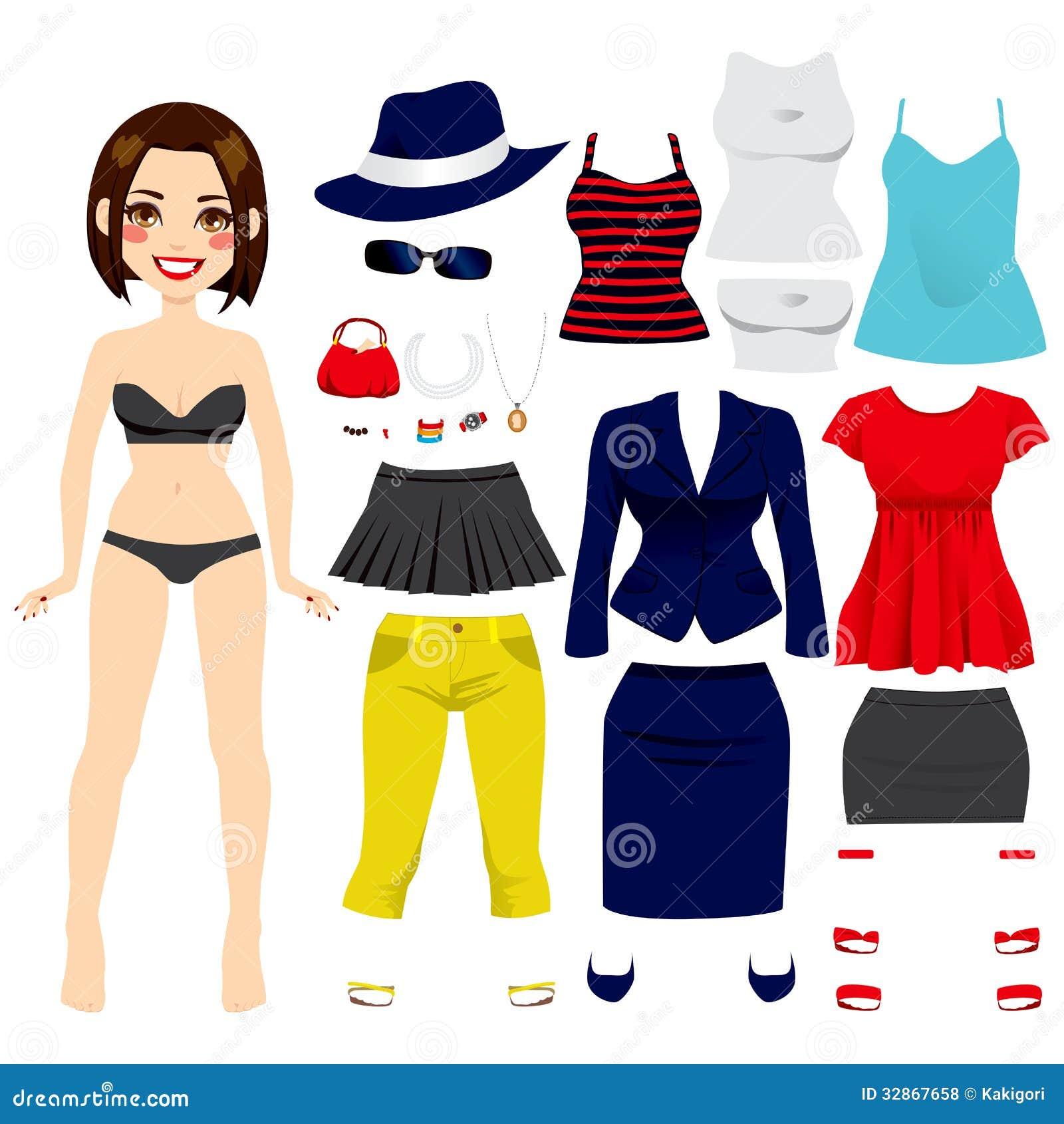Cute short hair brunette girl paper doll game fashion clothing set