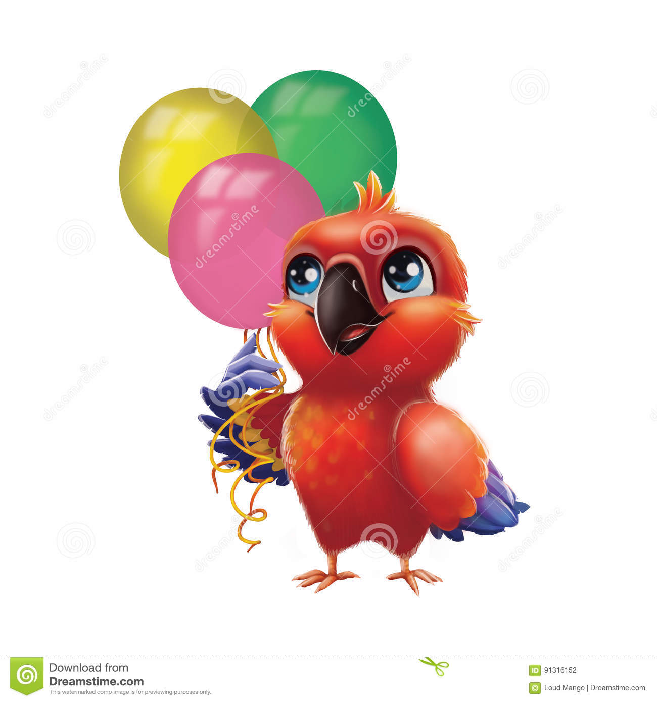 Cute Parakeet Parrot Holding Party Balloons