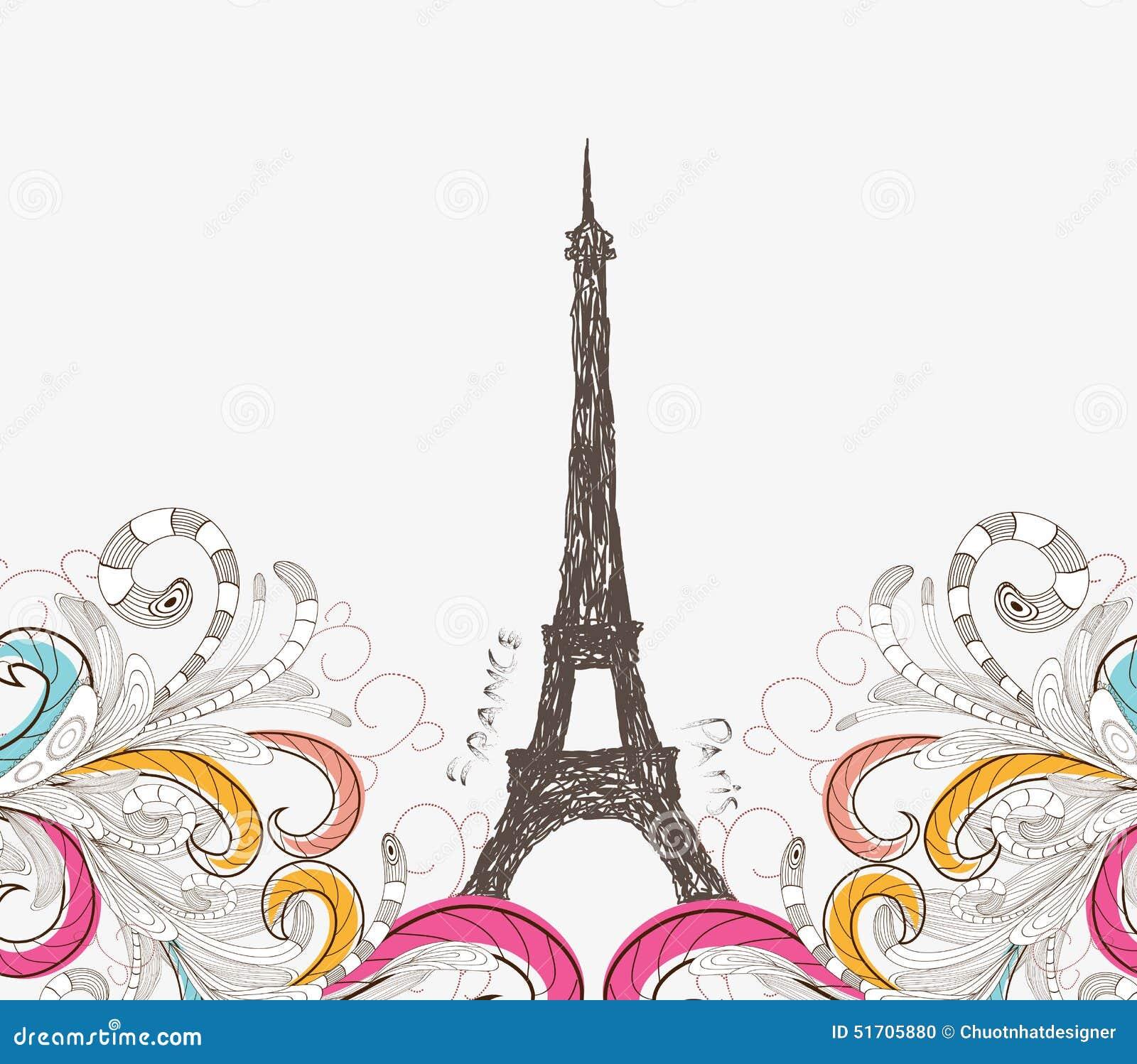 Cute paris doodle stock vector illustration of garden for Design paris