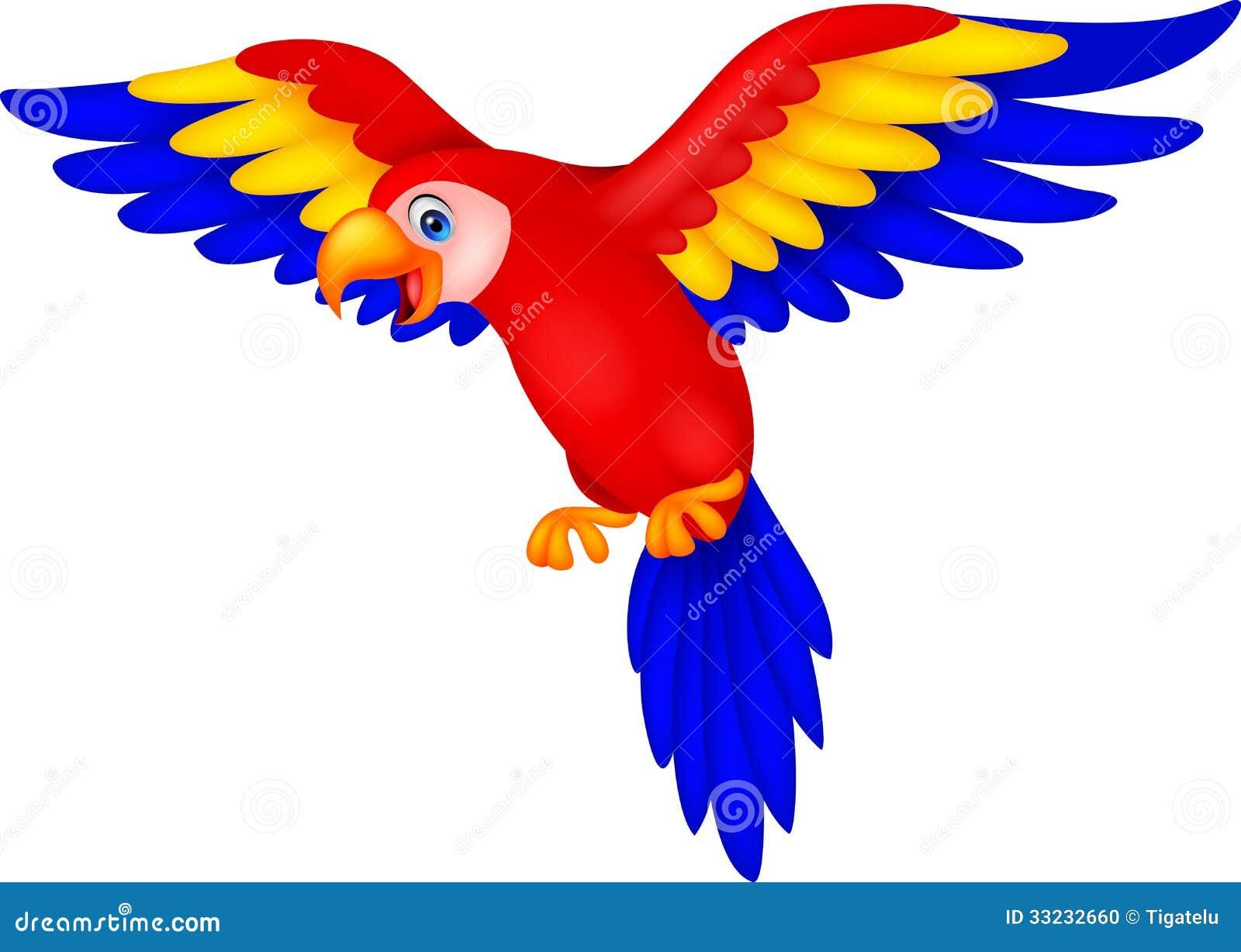 Cute Parrot Bird Cartoon Stock Vector Illustration Of