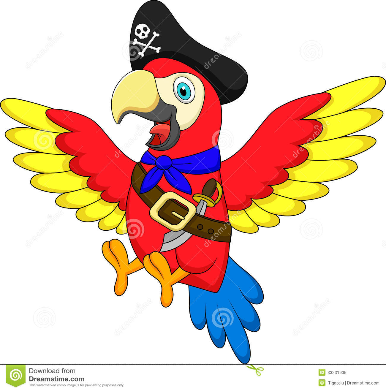 Cute Parrot Pirate Cartoon Royalty Free Stock Photo ...