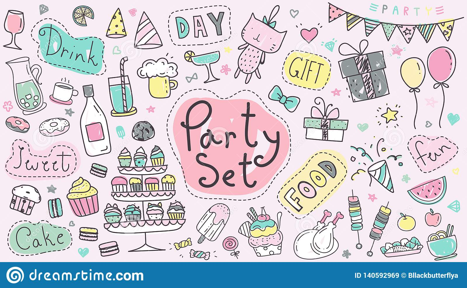 Cute Party Hand Drawn Doodle Collection In Pastel Color Kawaii