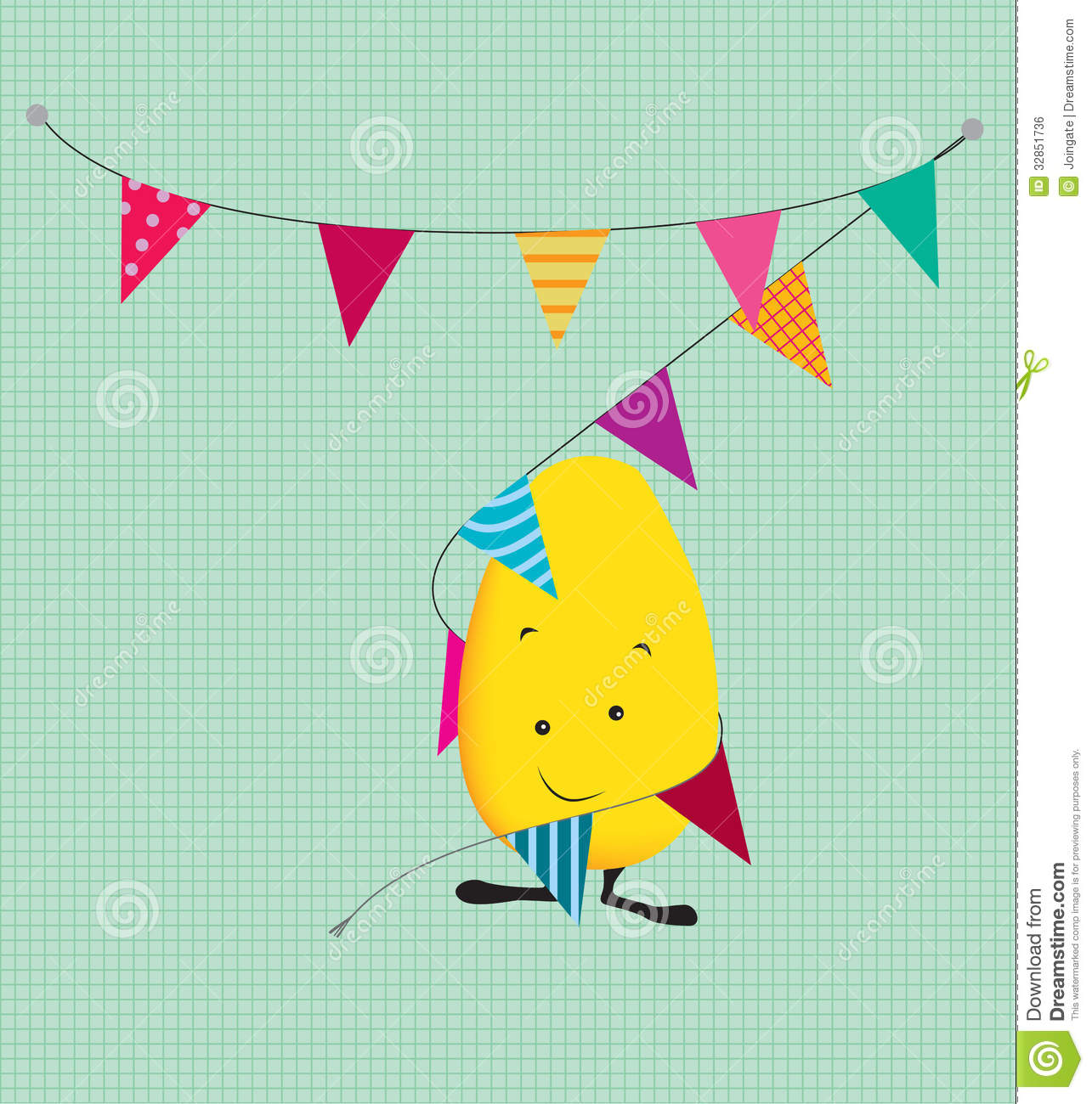 cute party kawaii style monster wrapped in bunting stock vector