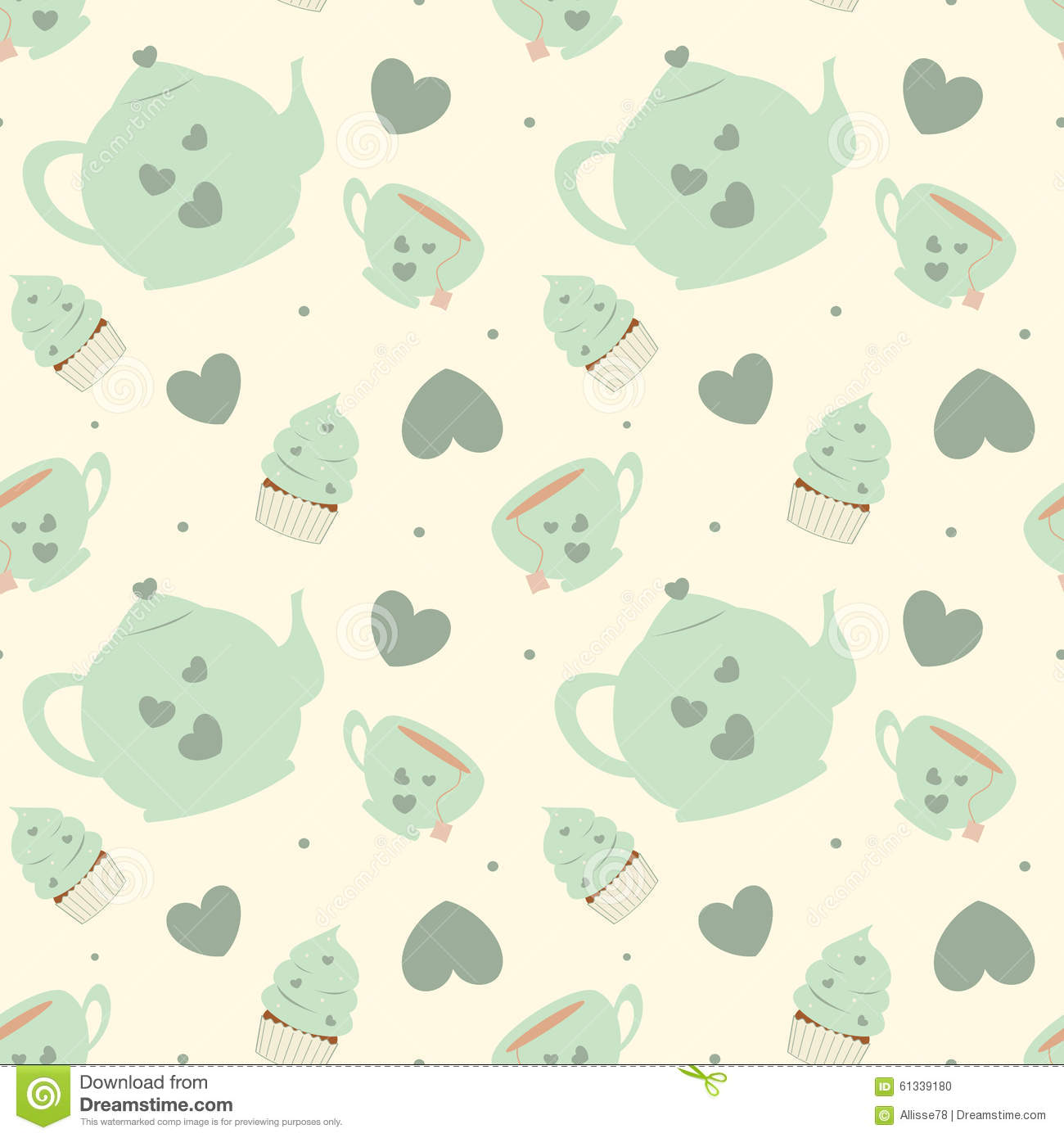 Kitchen Tea Background: Cute Pastel Cartoon Tea Set Seamless Pattern Background
