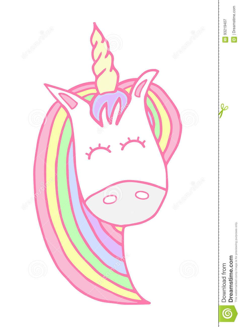 Cute and soft unicorns head vector illustration doodle drawing happy unicorn in light pastel baby colors