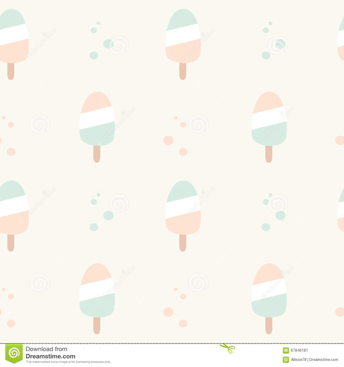 Pattern Cute Colorful Ice Cream Textiles Stock Vector: Cute Pastel Colors Ice Cream Seamless Pattern Background