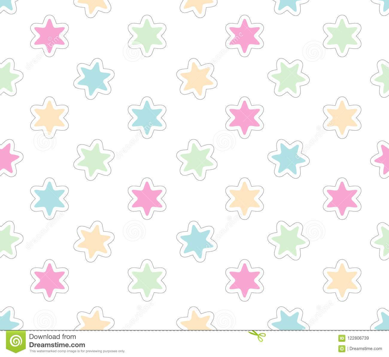 dc820b8d1338 Cute Pastel Stars Vector Pattern. White Background. Pink