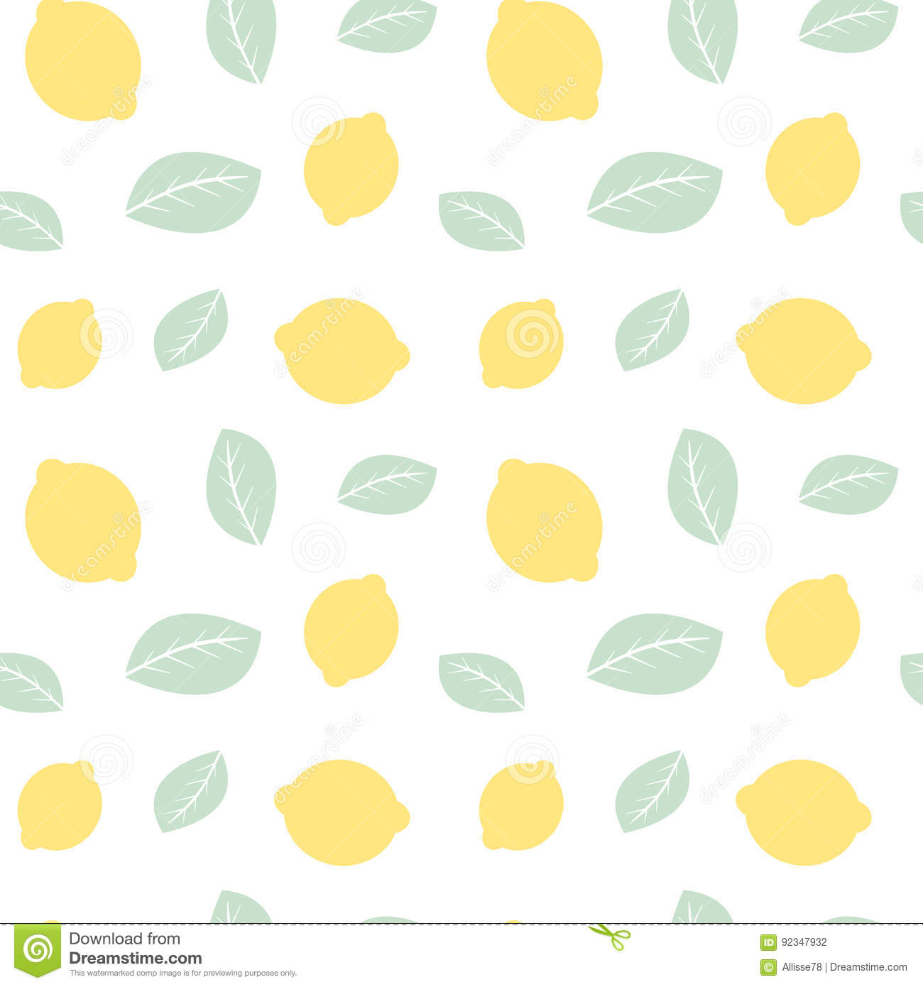 Cute Pastel Lemons And Leaves Seamless Pattern Background