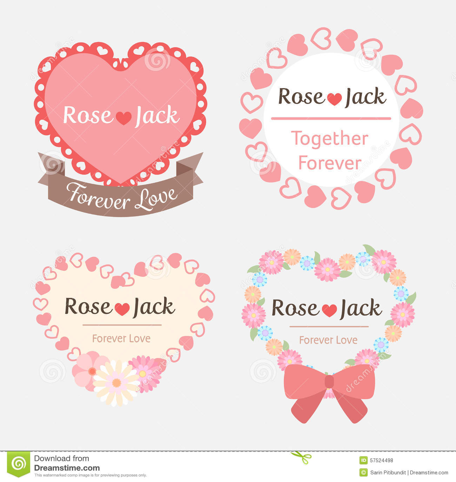 Cute Pastel Romantic Wedding Heart Shape Label Stock Illustration ...