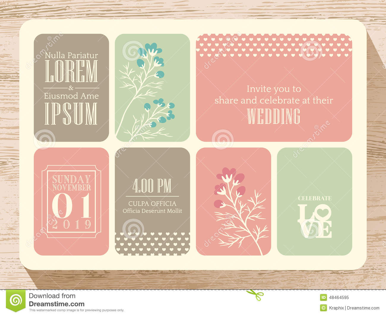Cute Pastel Wedding Invitation Card Background Stock